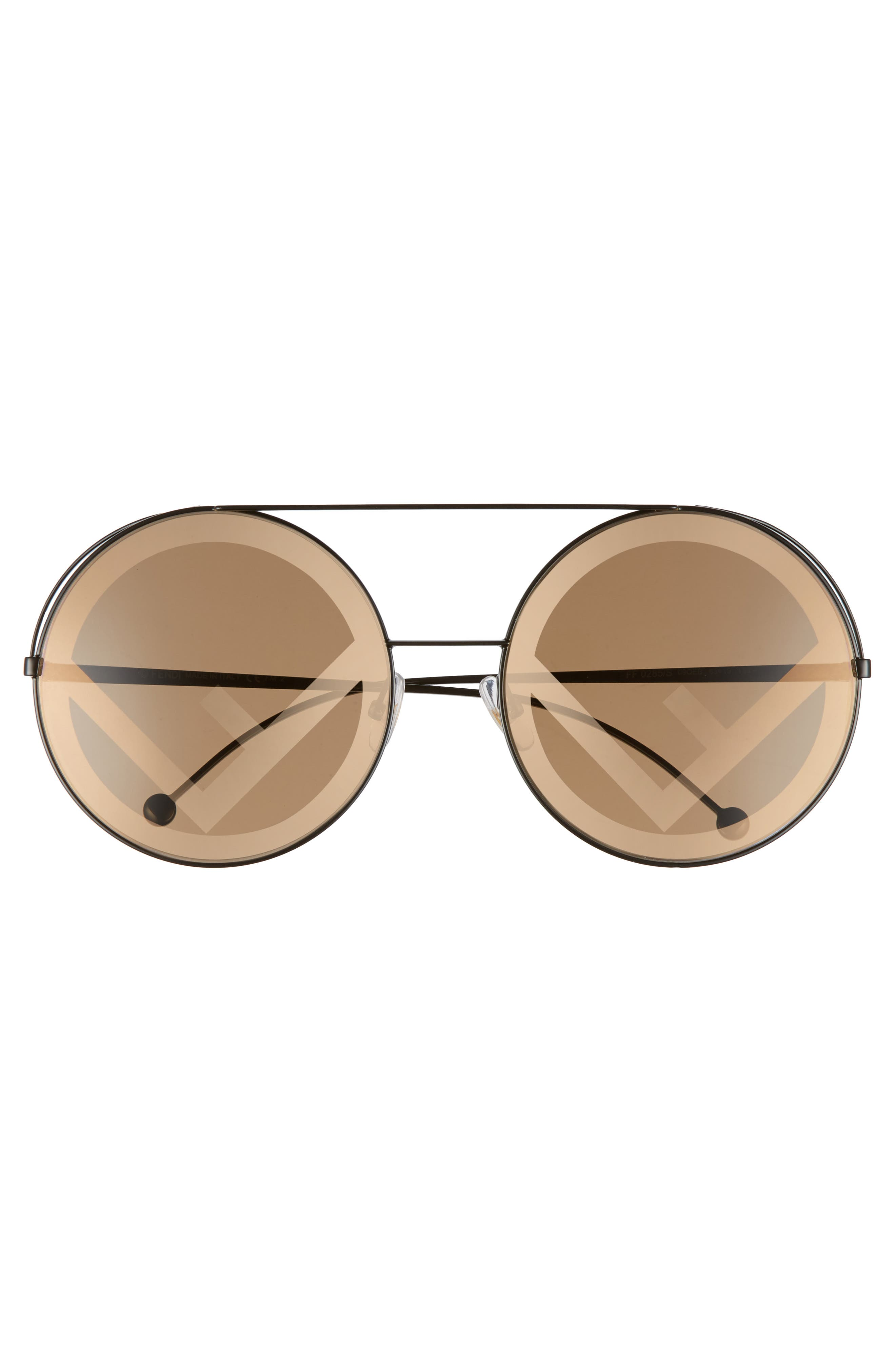 Run Away 63mm Round Sunglasses,                             Alternate thumbnail 3, color,                             Brown