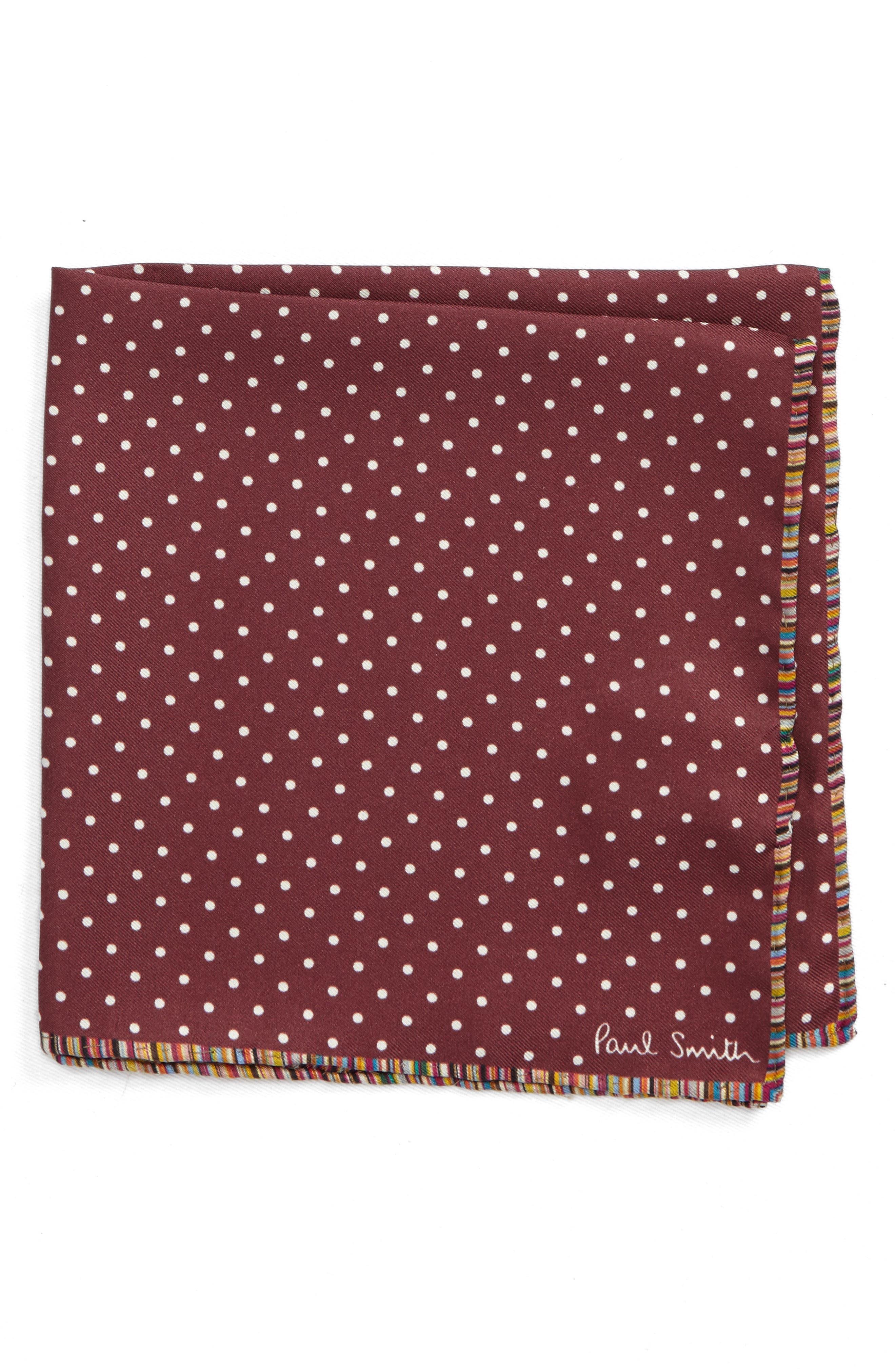 Multistripe Edge Dot Silk Pocket Square,                         Main,                         color, Red
