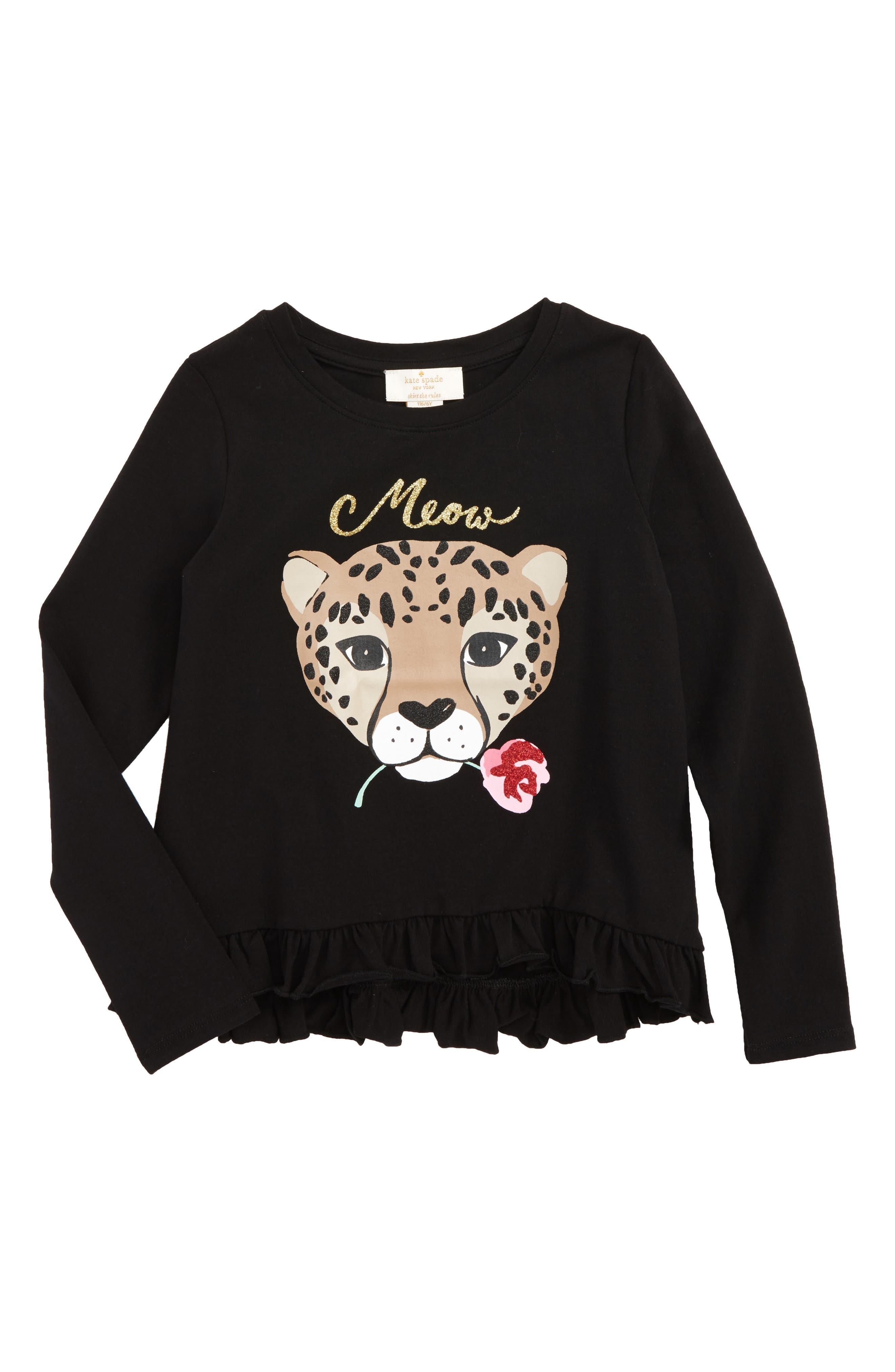 meow tee,                         Main,                         color, Black