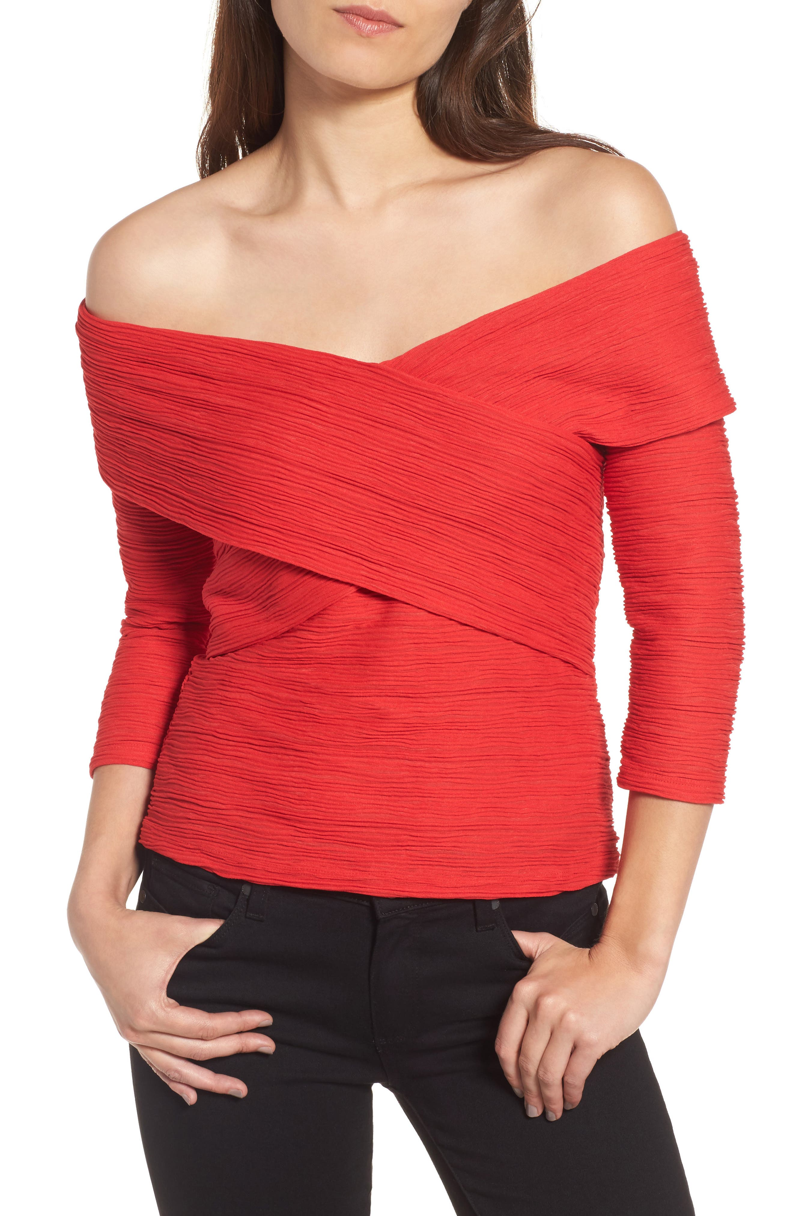 Crossover Stripe Top,                         Main,                         color, Red Mars