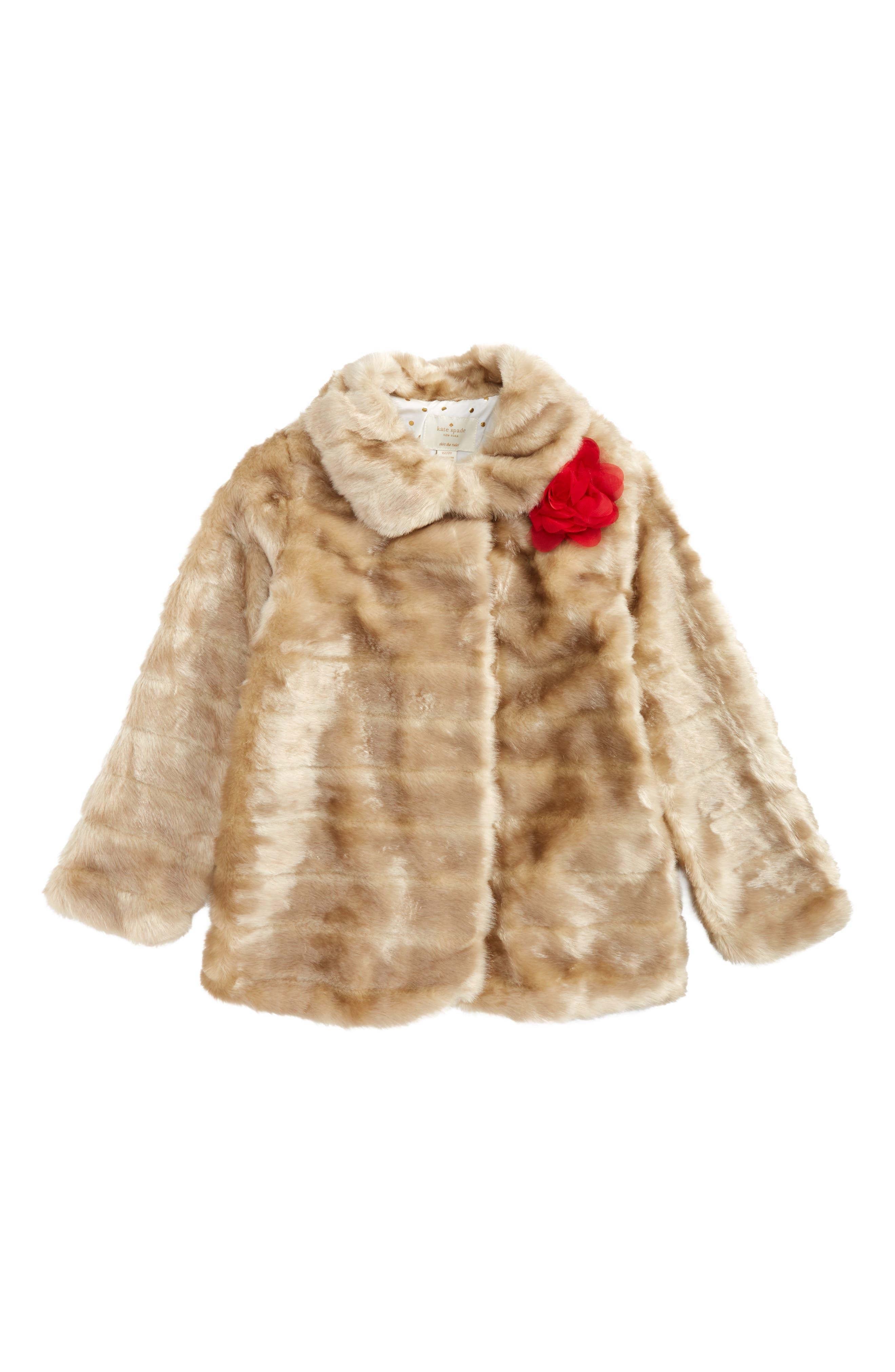 Main Image - kate spade new york faux mink fur coat (Big Girls)