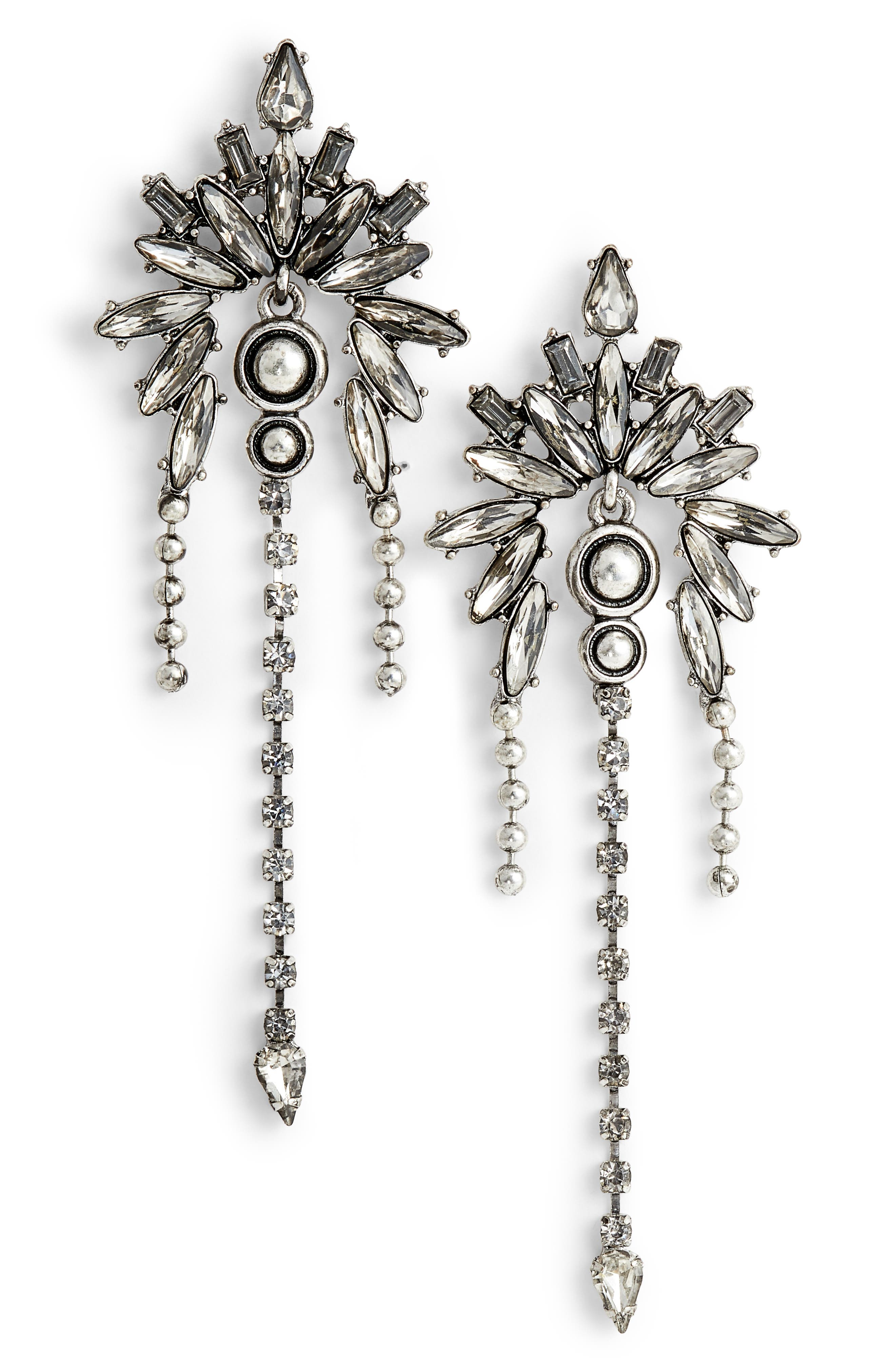 Crystal Chandelier Earrings,                         Main,                         color, Antiqued Silver