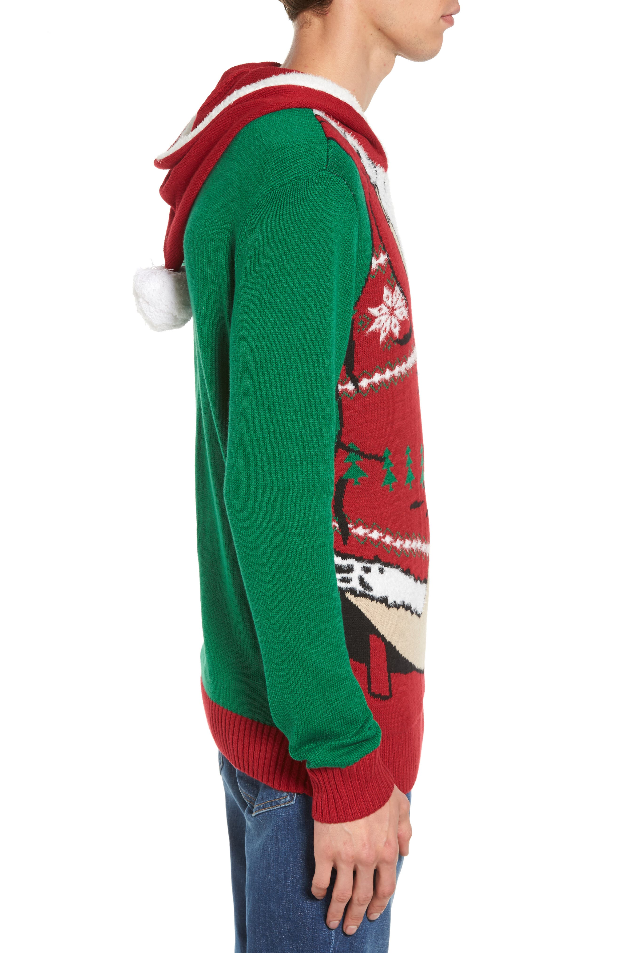 Santa Hoodie Sweater,                             Alternate thumbnail 3, color,                             Green Santa