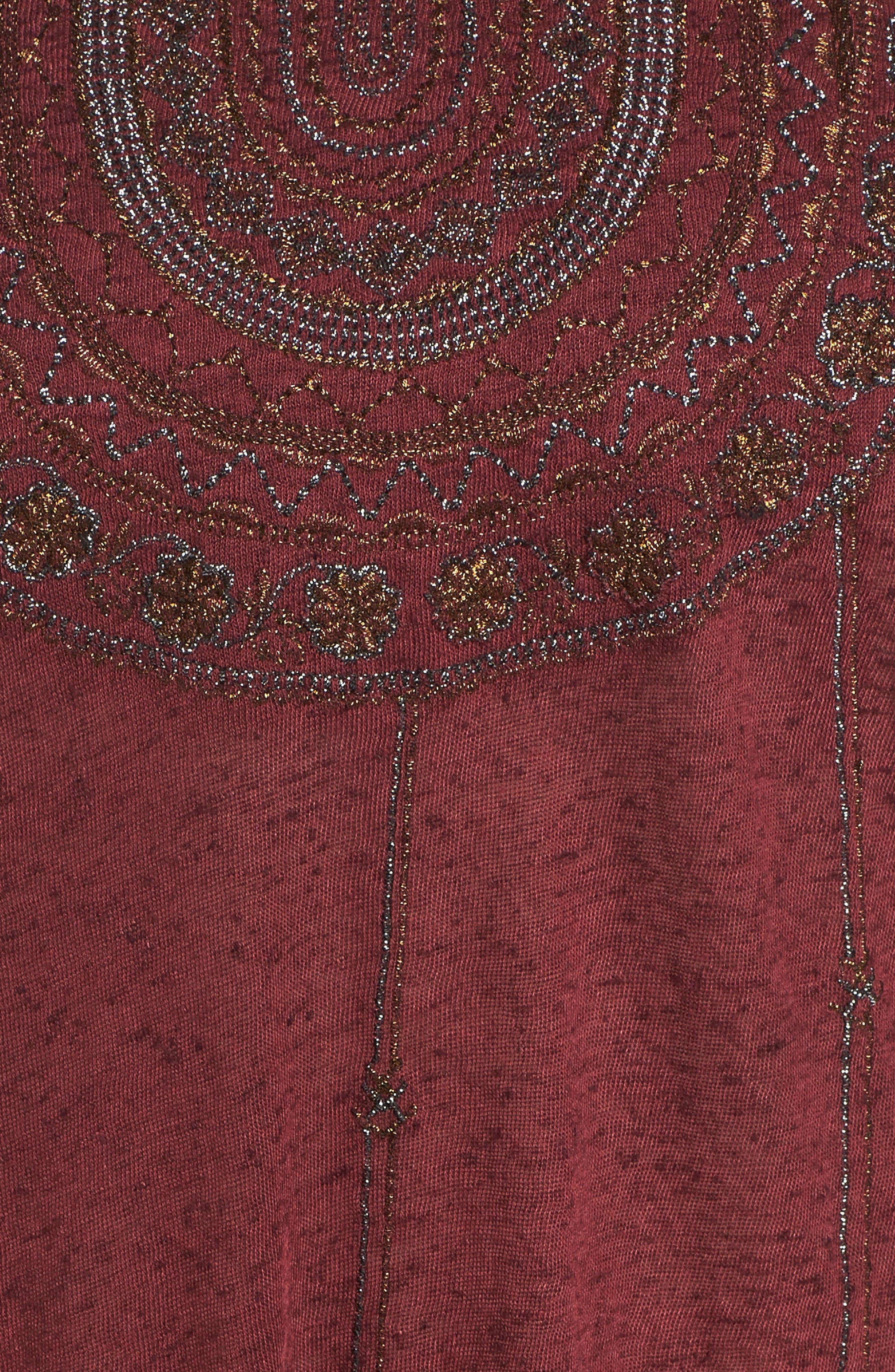 Embroidered Bib Top,                             Alternate thumbnail 5, color,                             Tawny Port