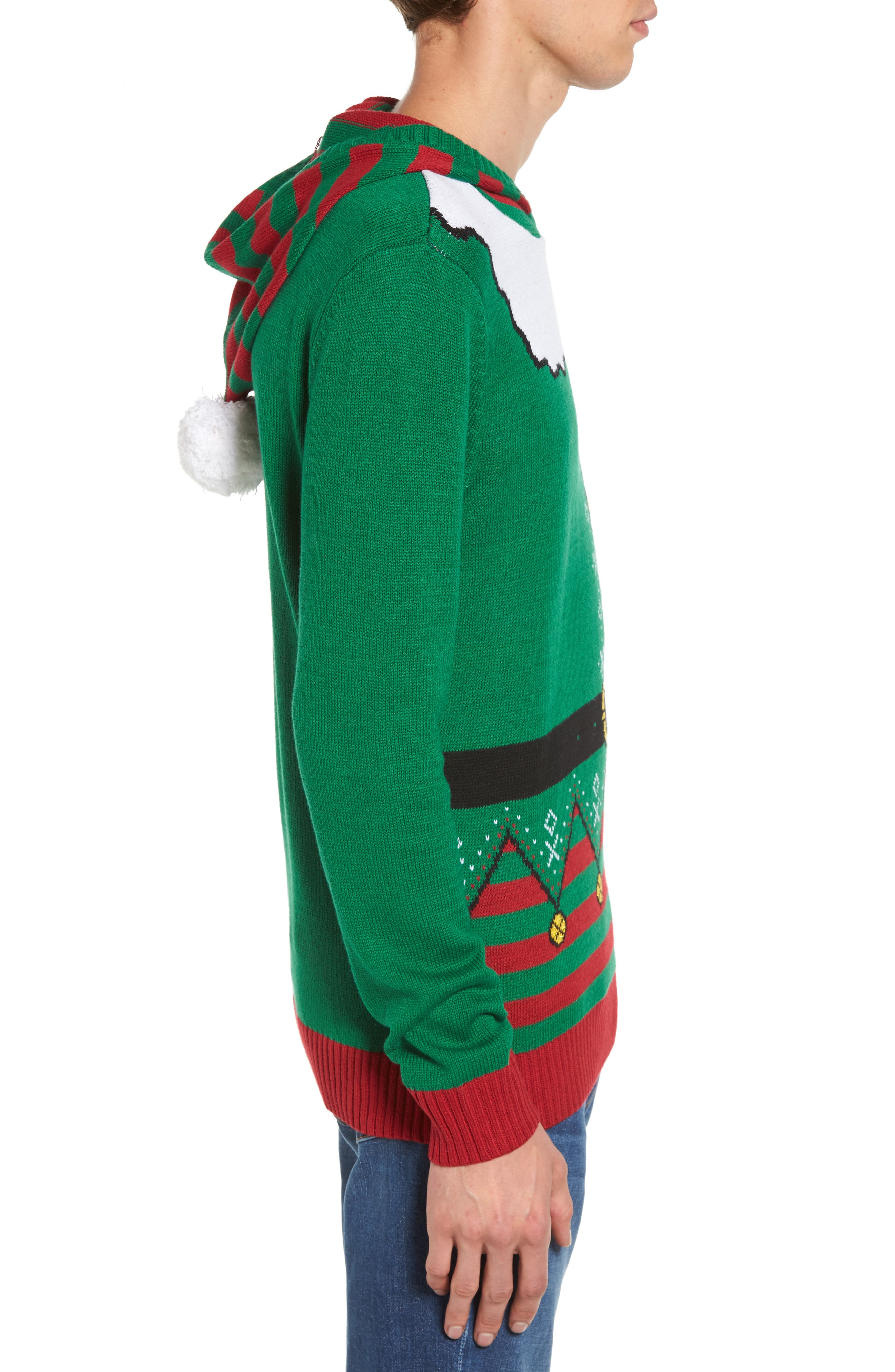 Elf Hooded Sweater,                             Alternate thumbnail 3, color,                             Green Elf