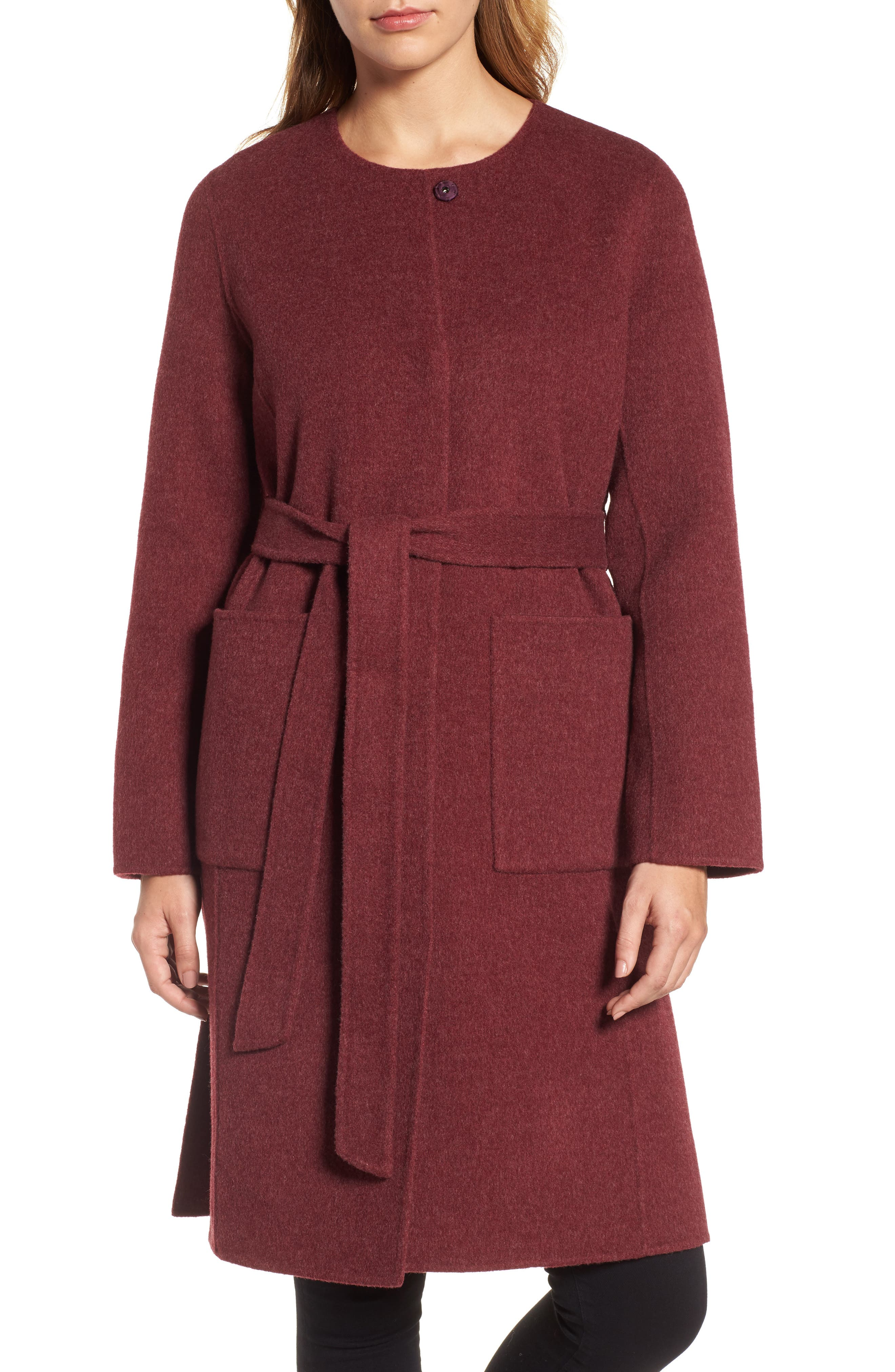 Alternate Image 1 Selected - Eileen Fisher Boiled Wool Blend Wrap Coat