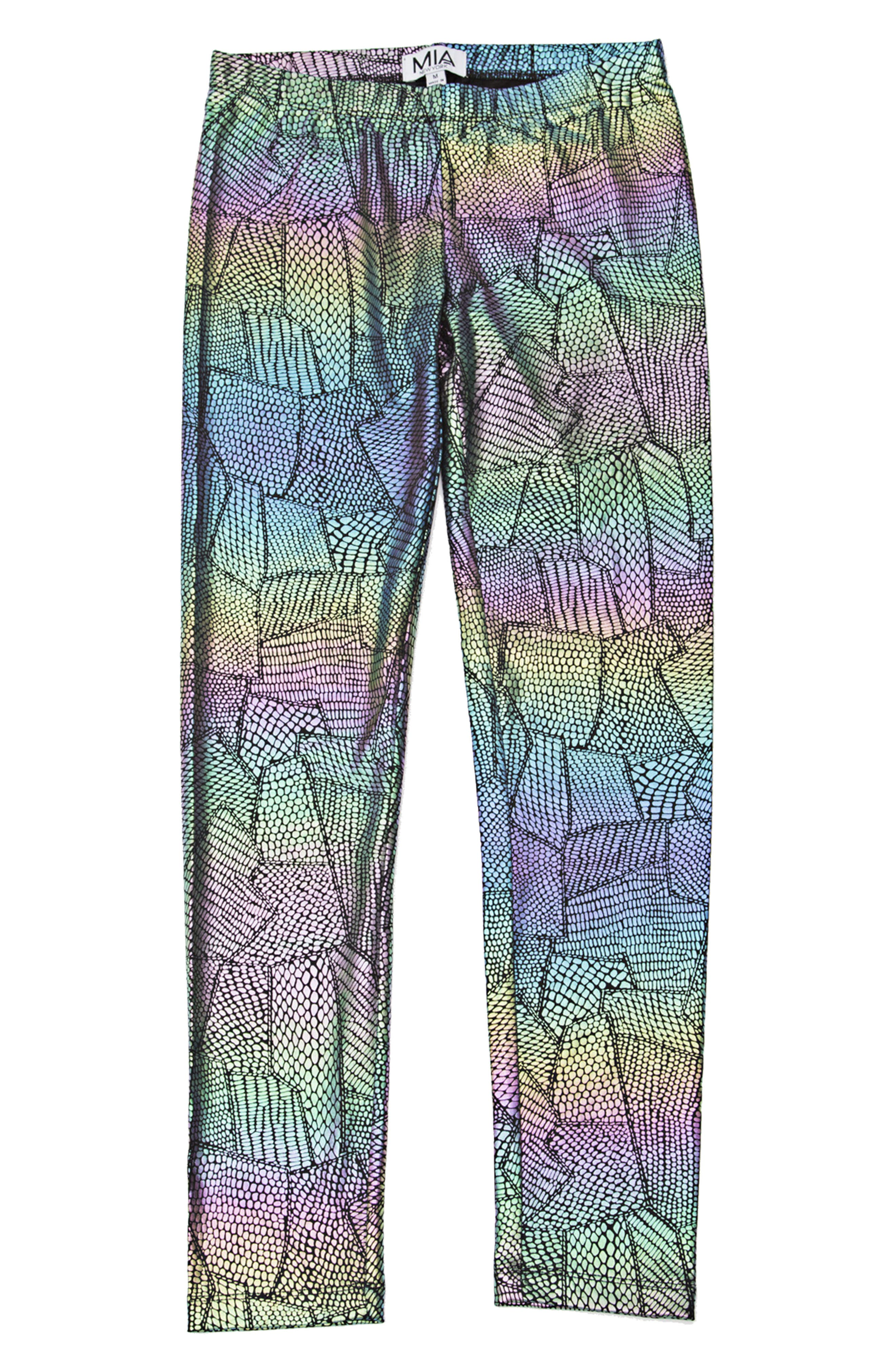 Alternate Image 1 Selected - Mia New York Crazy Print Leggings (Big Girls)