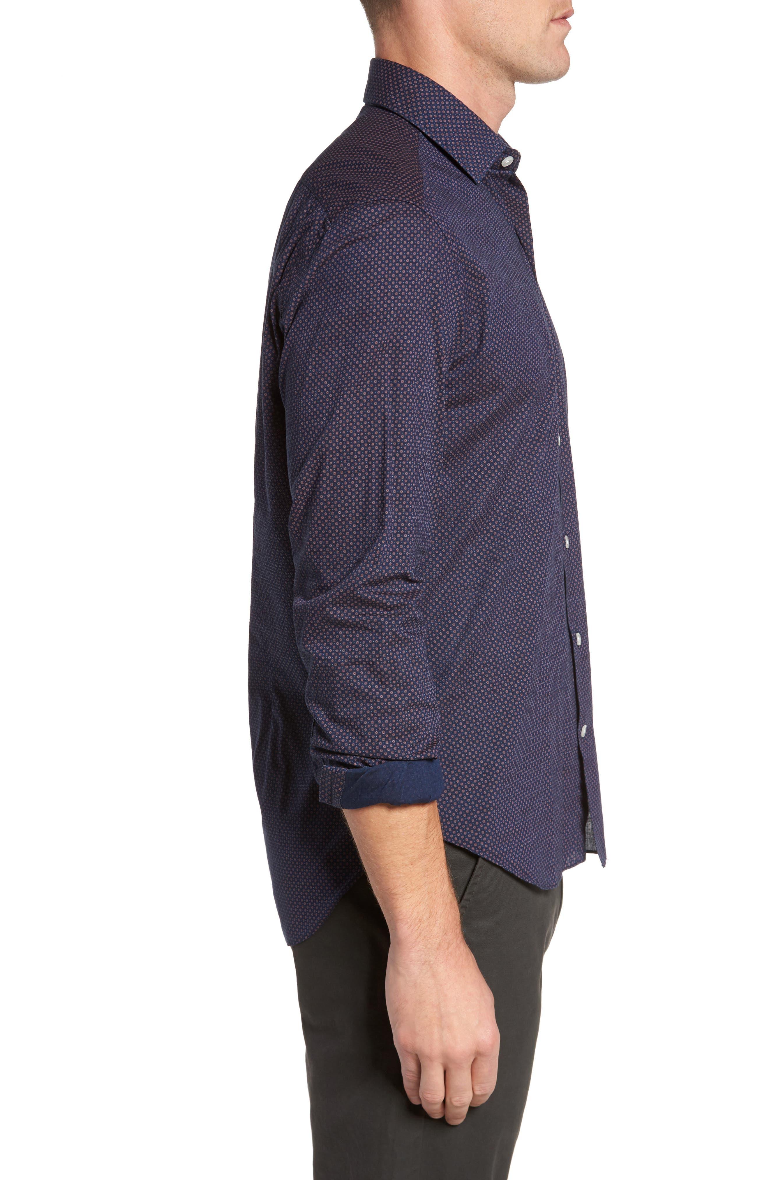 Dyed Print Sport Shirt,                             Alternate thumbnail 3, color,                             Navy