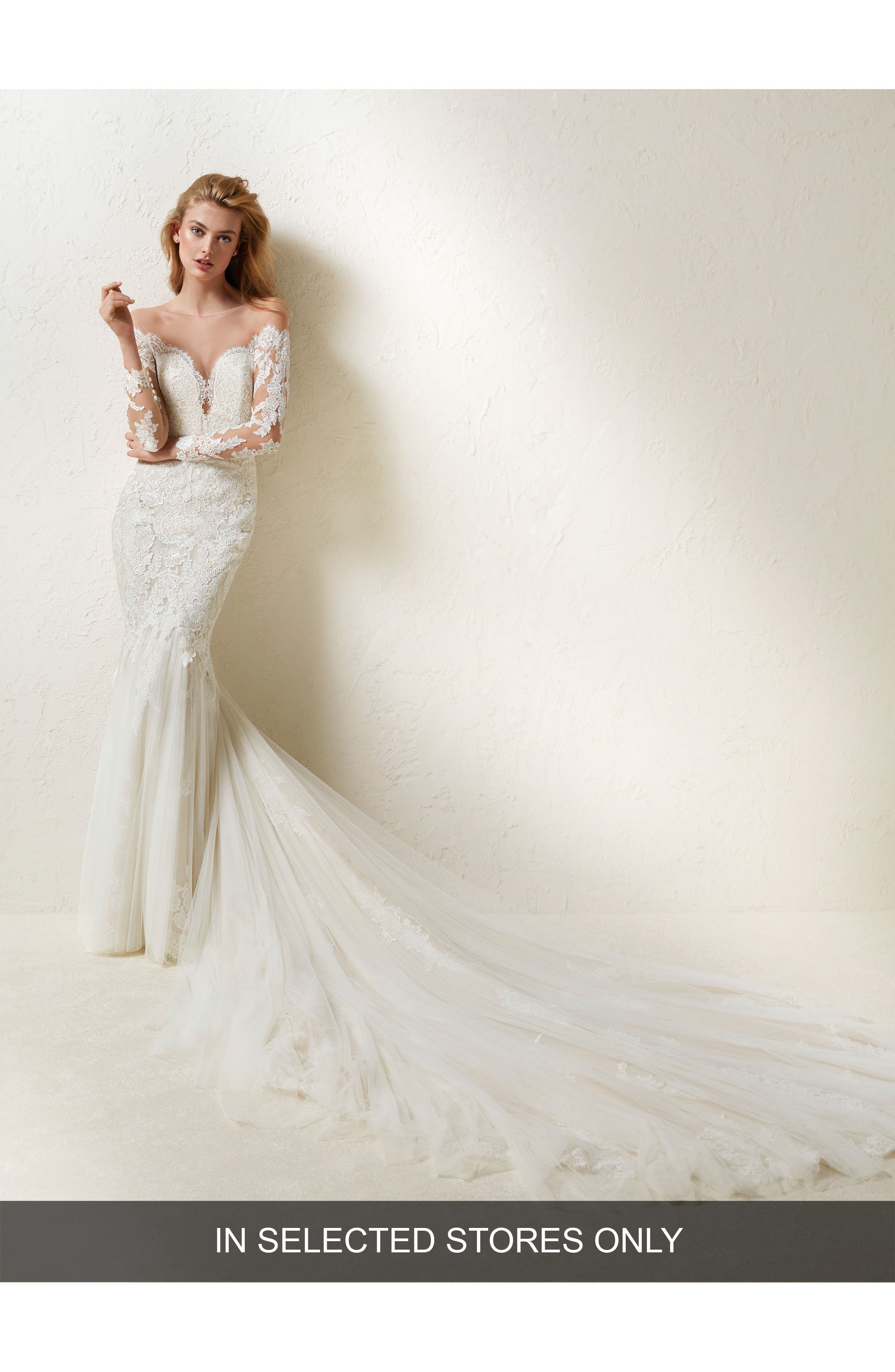 Drinea Illusion Lace Mermaid Gown,                             Main thumbnail 1, color,                             Off White