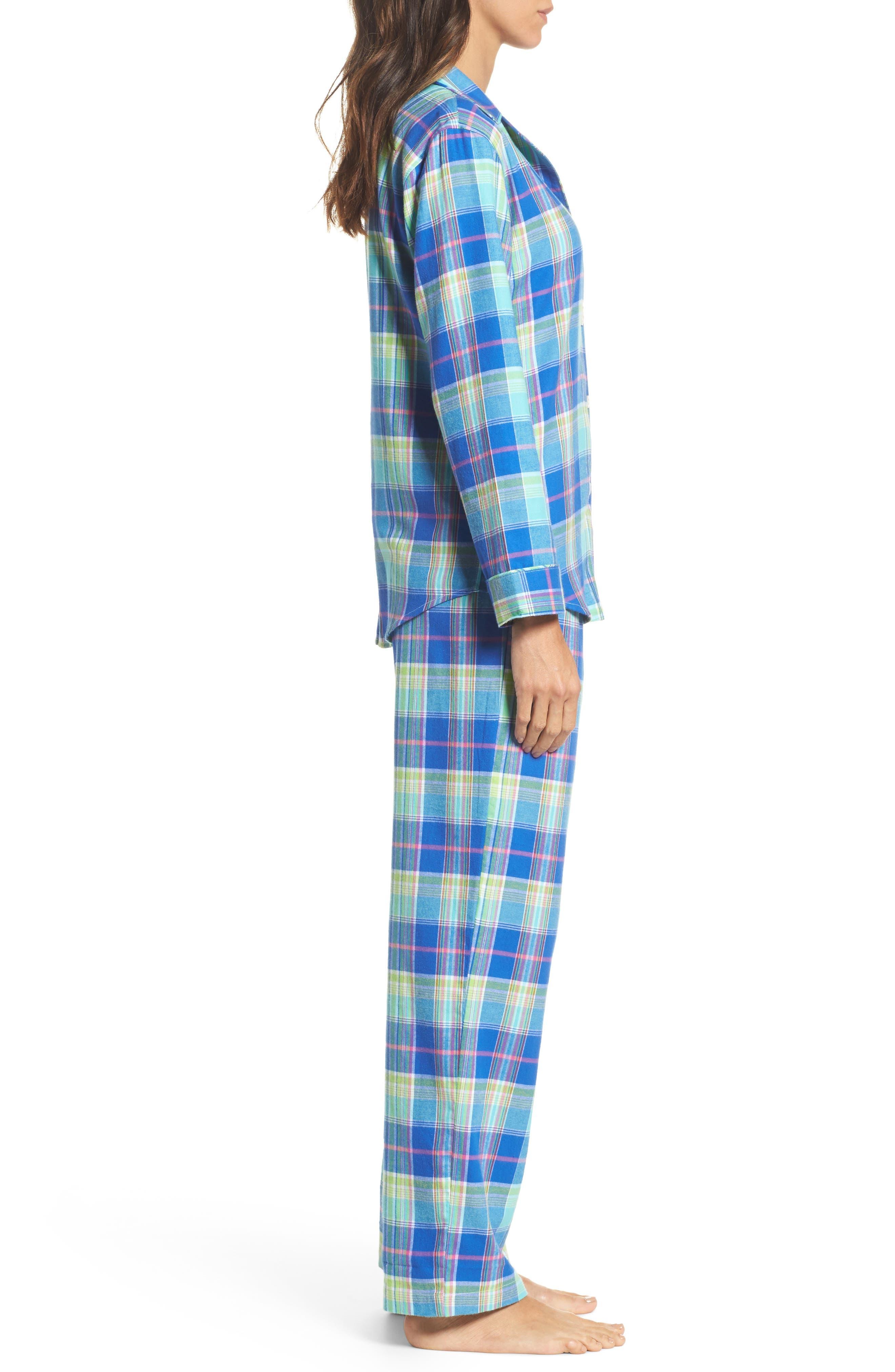 Notch Collar Pajamas,                             Alternate thumbnail 3, color,                             Turquoise Multi Plaid
