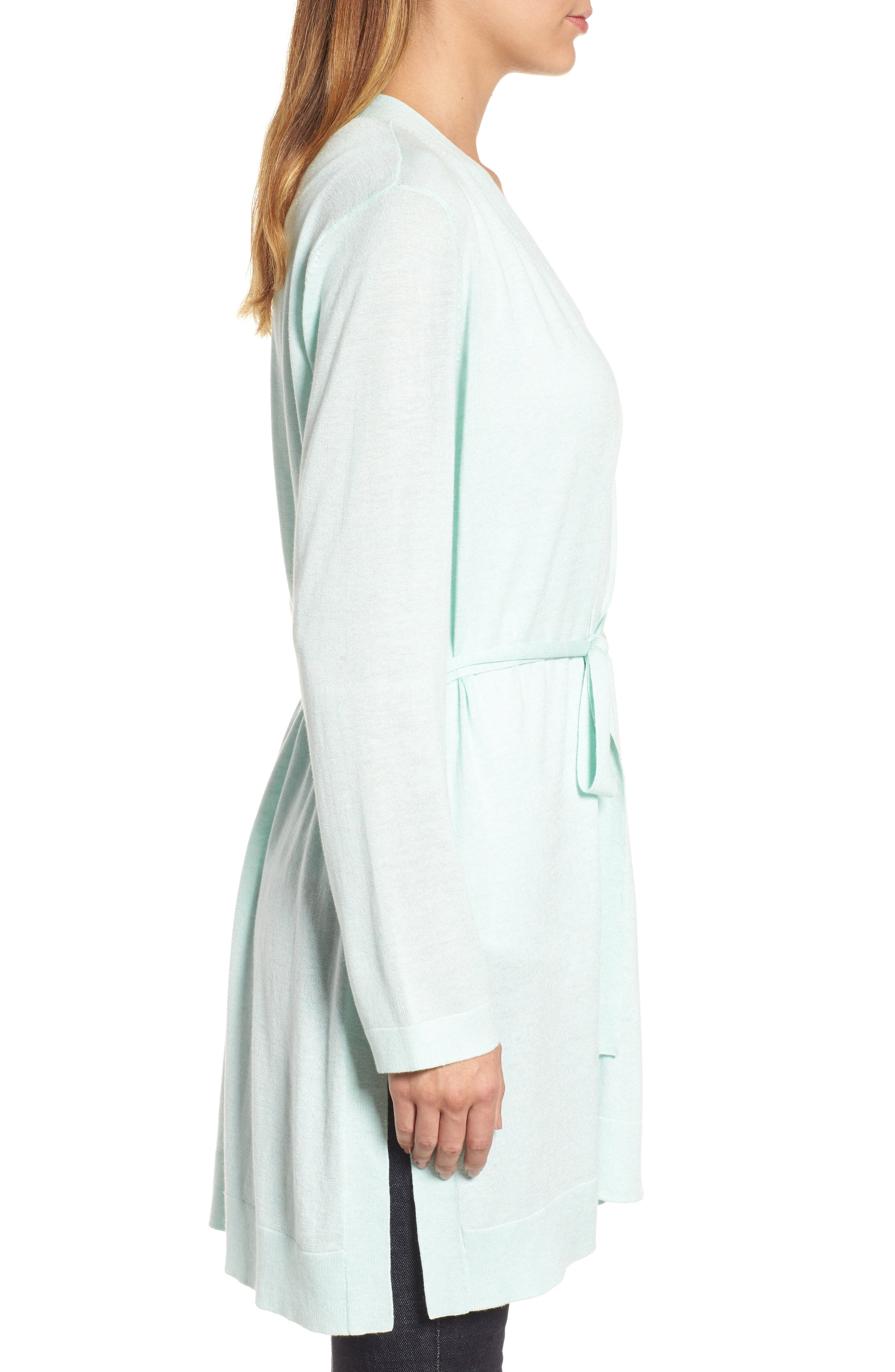 Tie Waist Tencel<sup>®</sup> Lyocell Blend Cardigan,                             Alternate thumbnail 3, color,                             Aurora