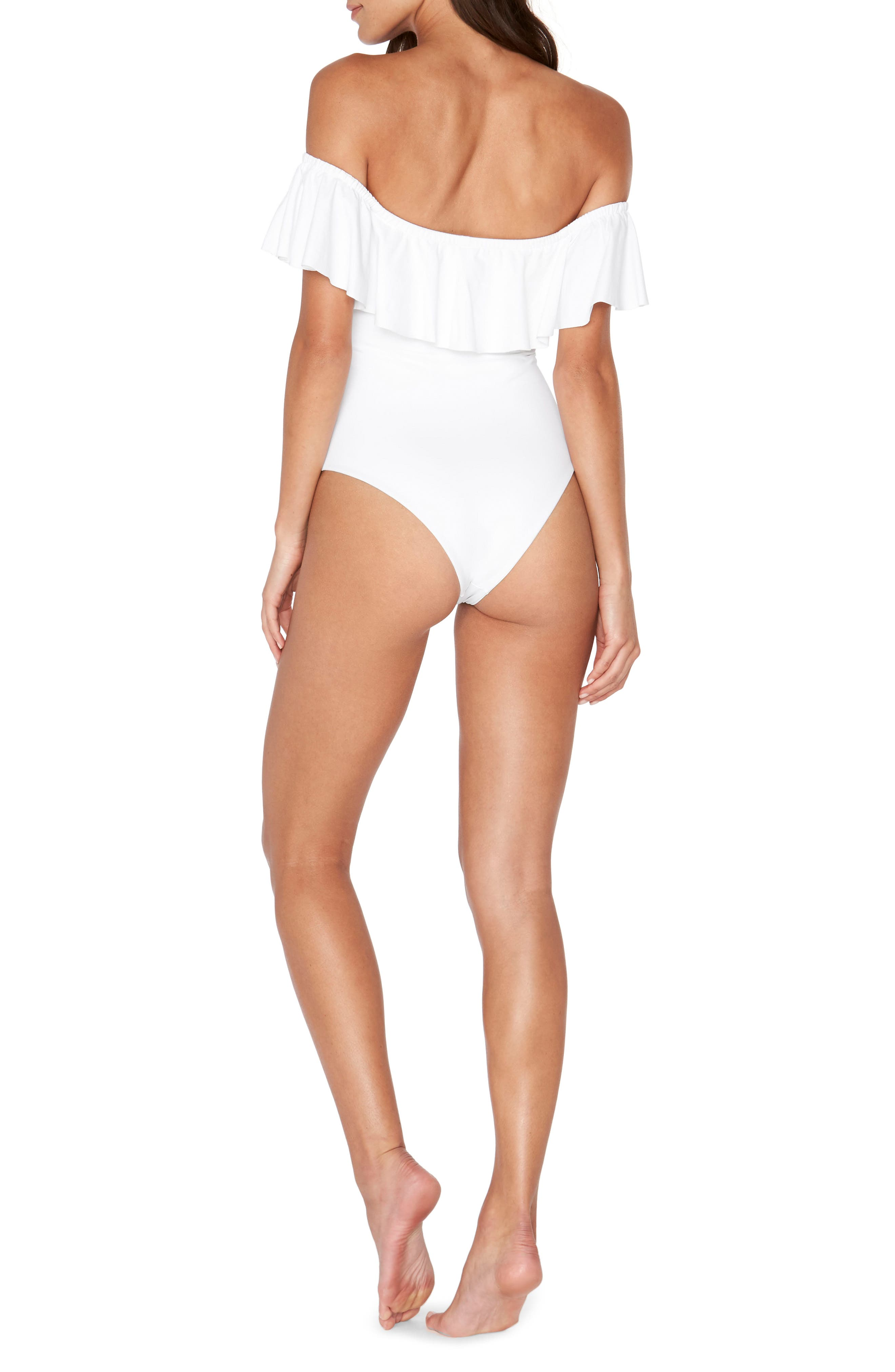 Off the Shouder One-Piece Swimsuit,                             Alternate thumbnail 2, color,                             White