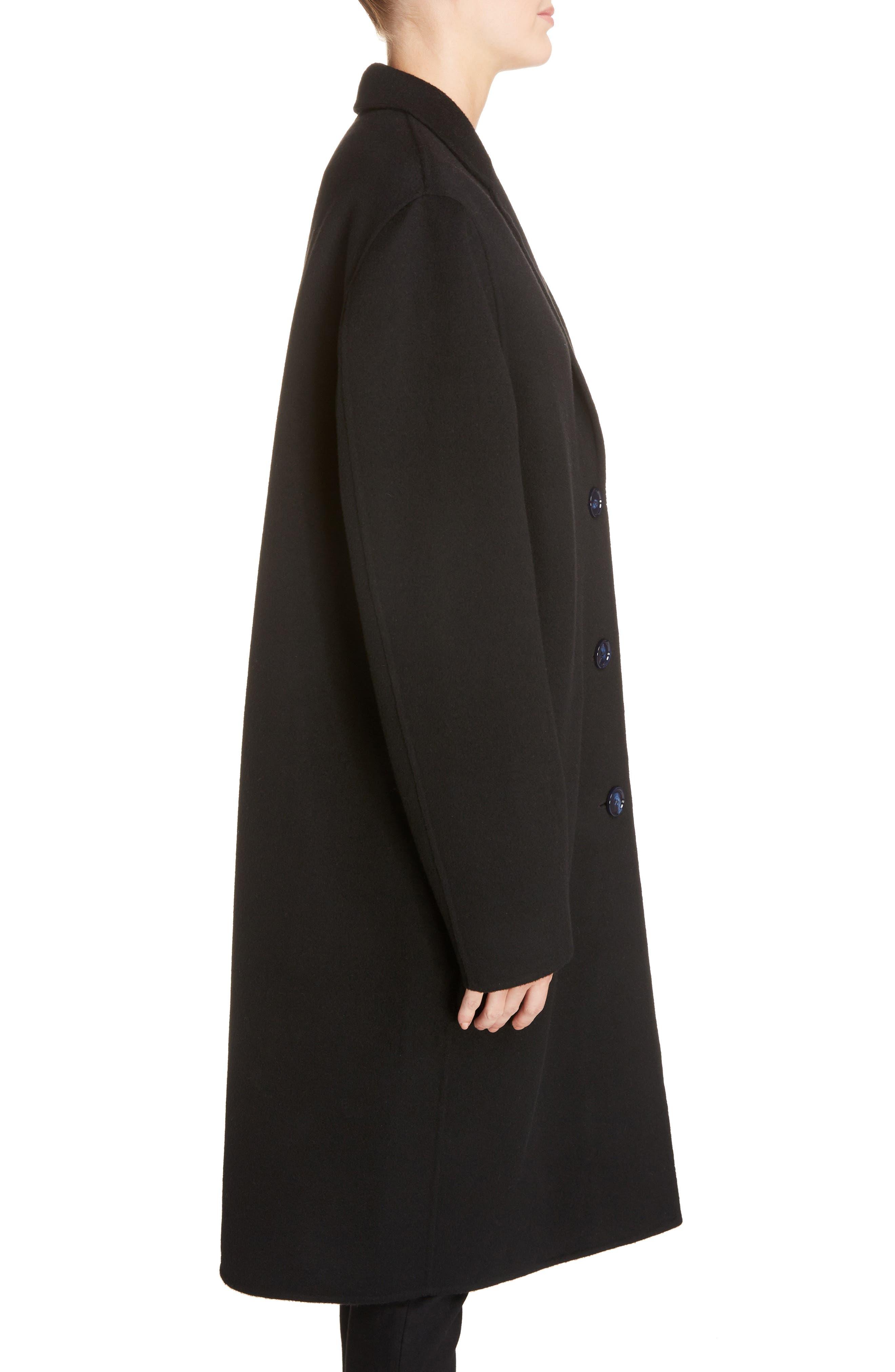 Avalon Wool & Cashmere Coat,                             Alternate thumbnail 3, color,                             Black