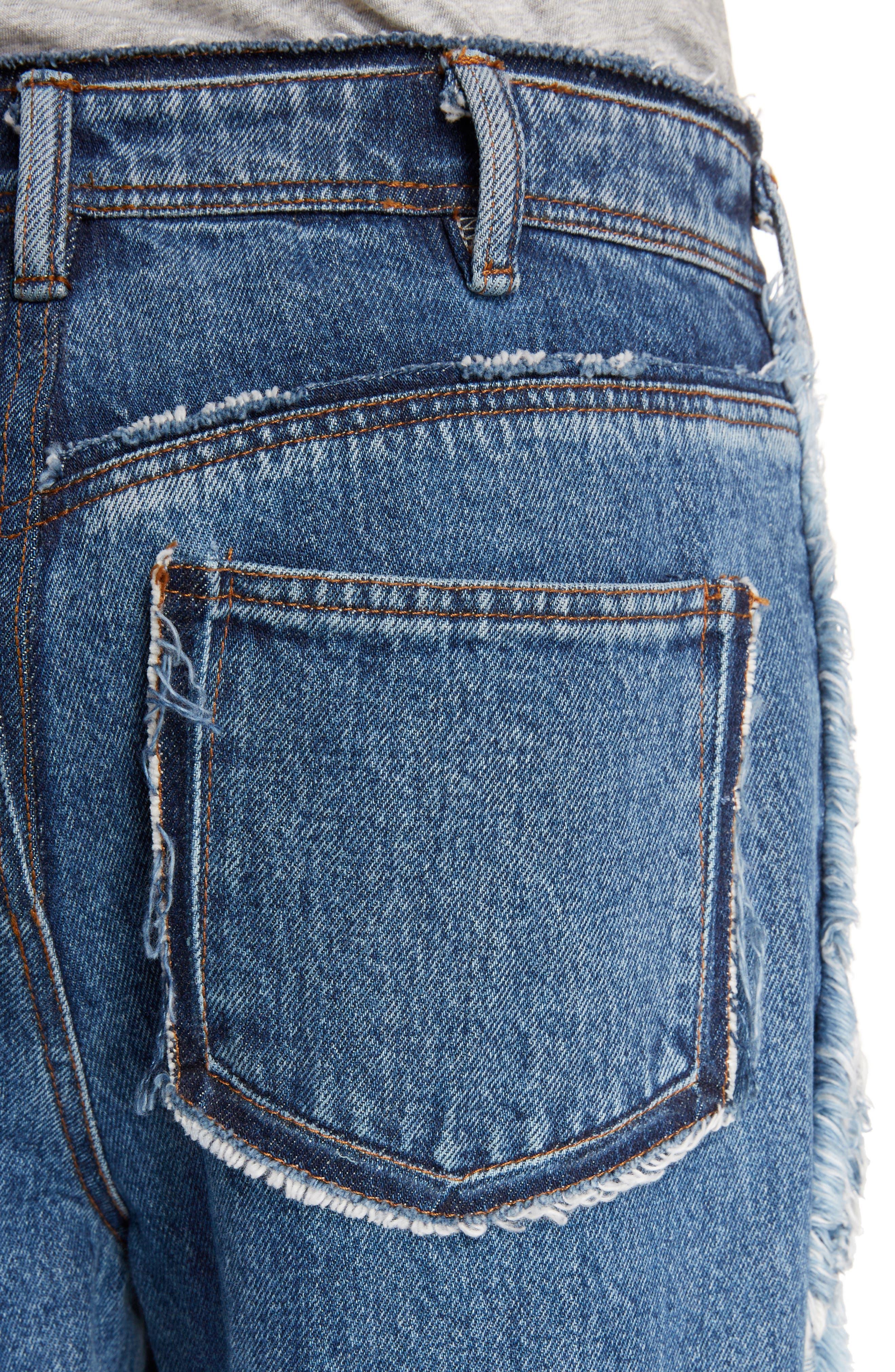 Mirja Frayed High Waist Straight Leg Jeans,                             Alternate thumbnail 5, color,                             Indigo Blue
