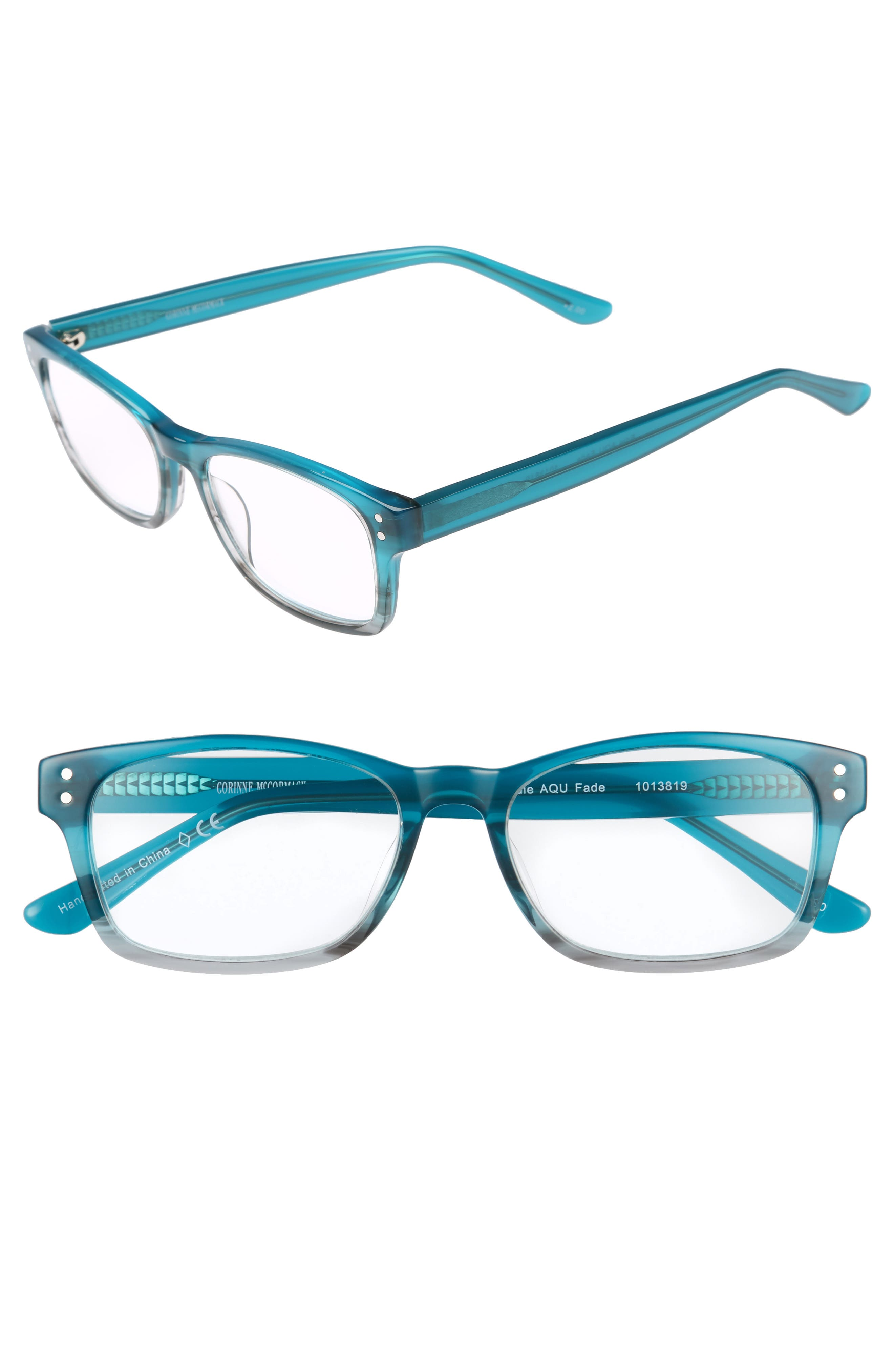 Edie 47mm Reading Glasses,                         Main,                         color, Green