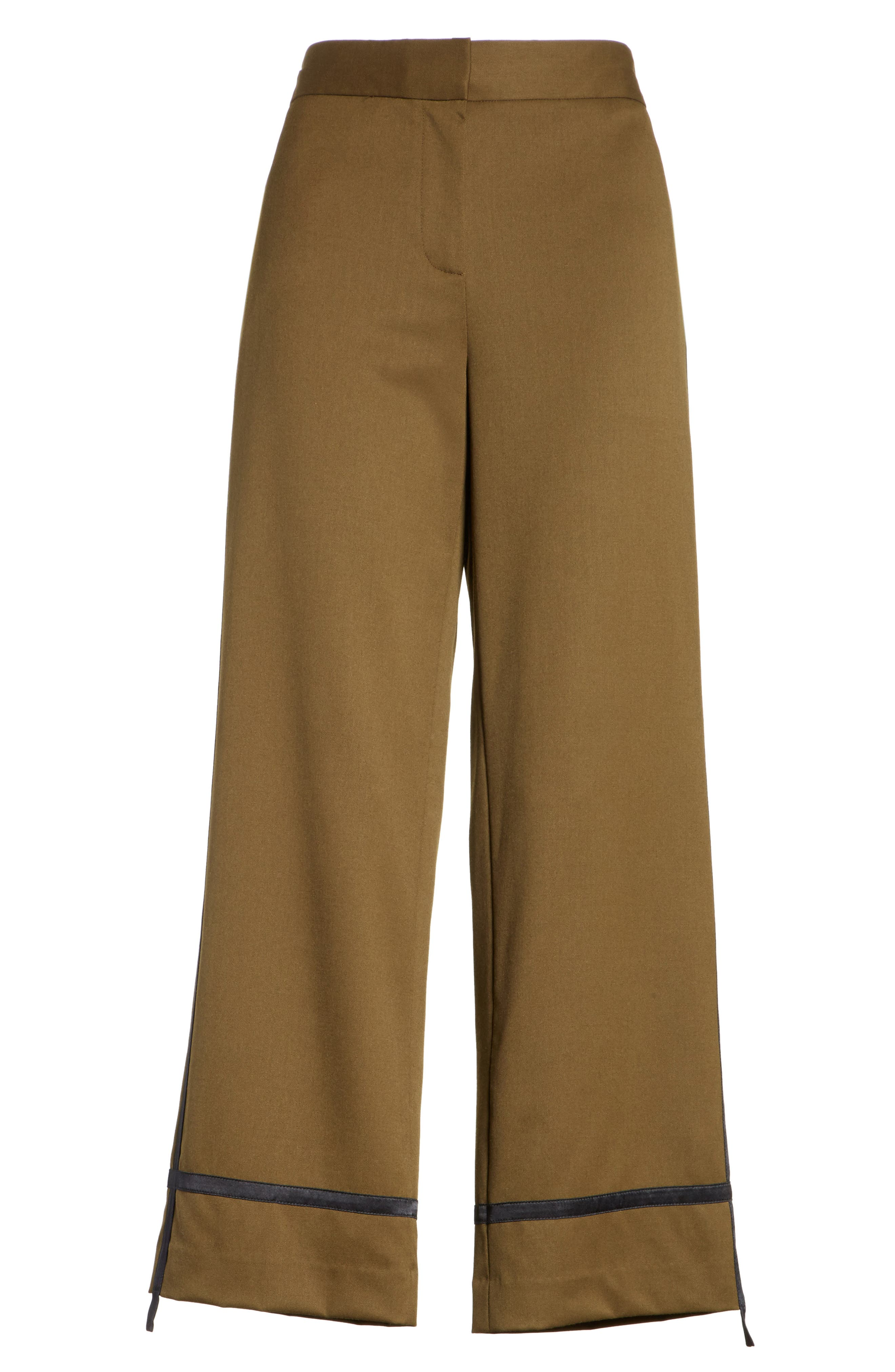 Crop Straight Leg Pants,                             Alternate thumbnail 7, color,                             Olive