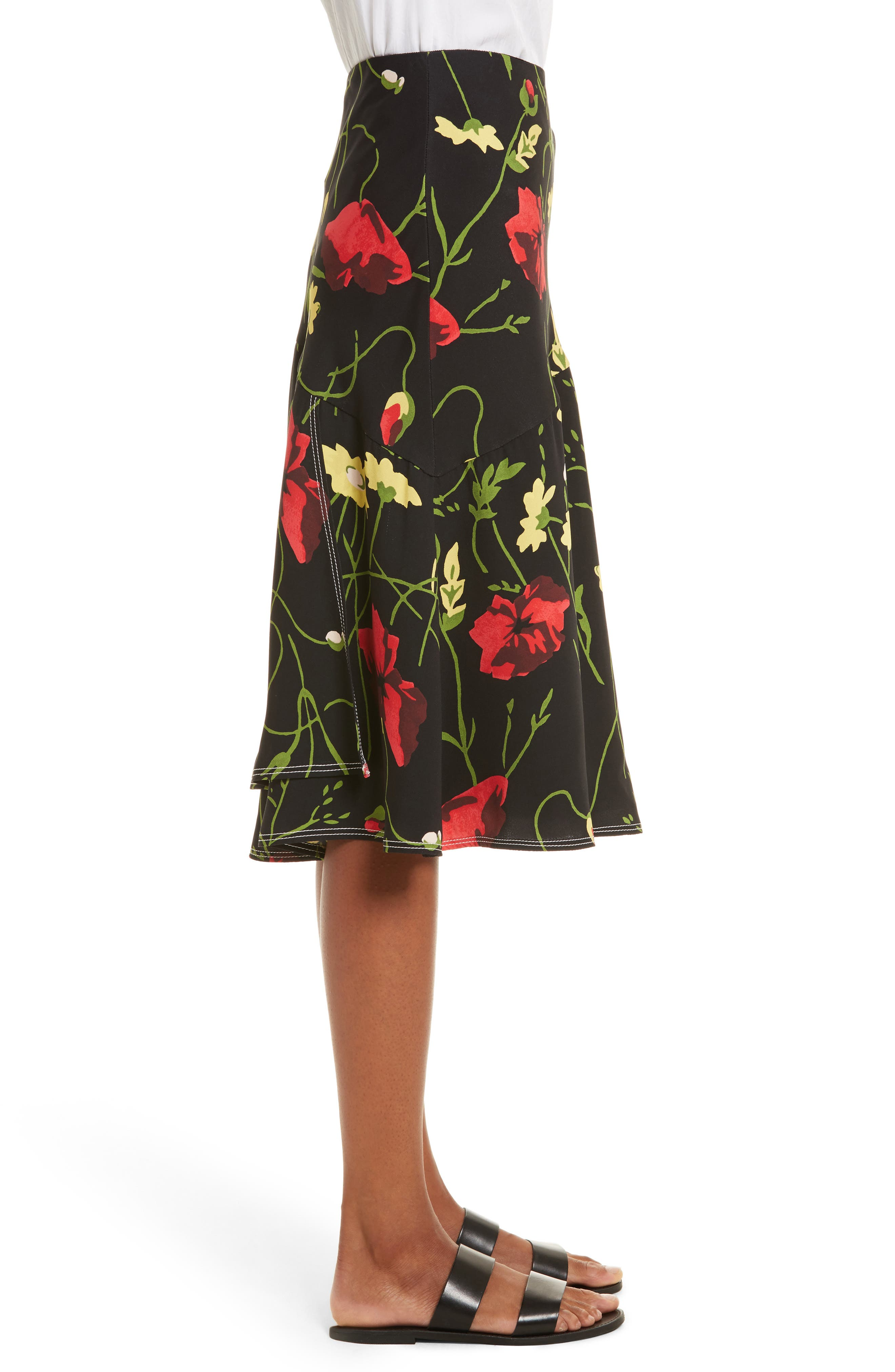 Floral Print Silk Skirt,                             Alternate thumbnail 3, color,                             Black Multi