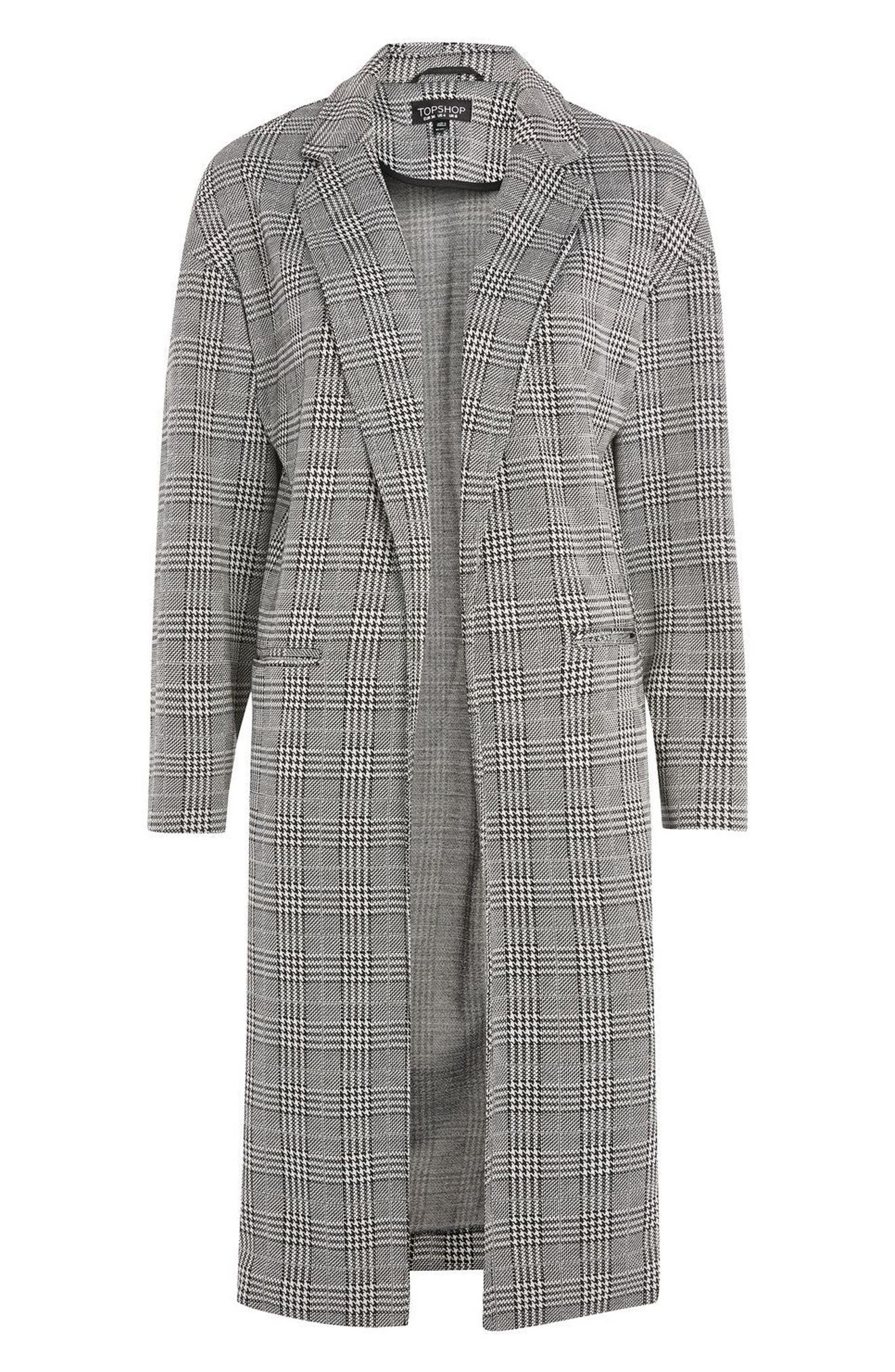 Alternate Image 4  - Topshop Checkered Pow Jersey Coat