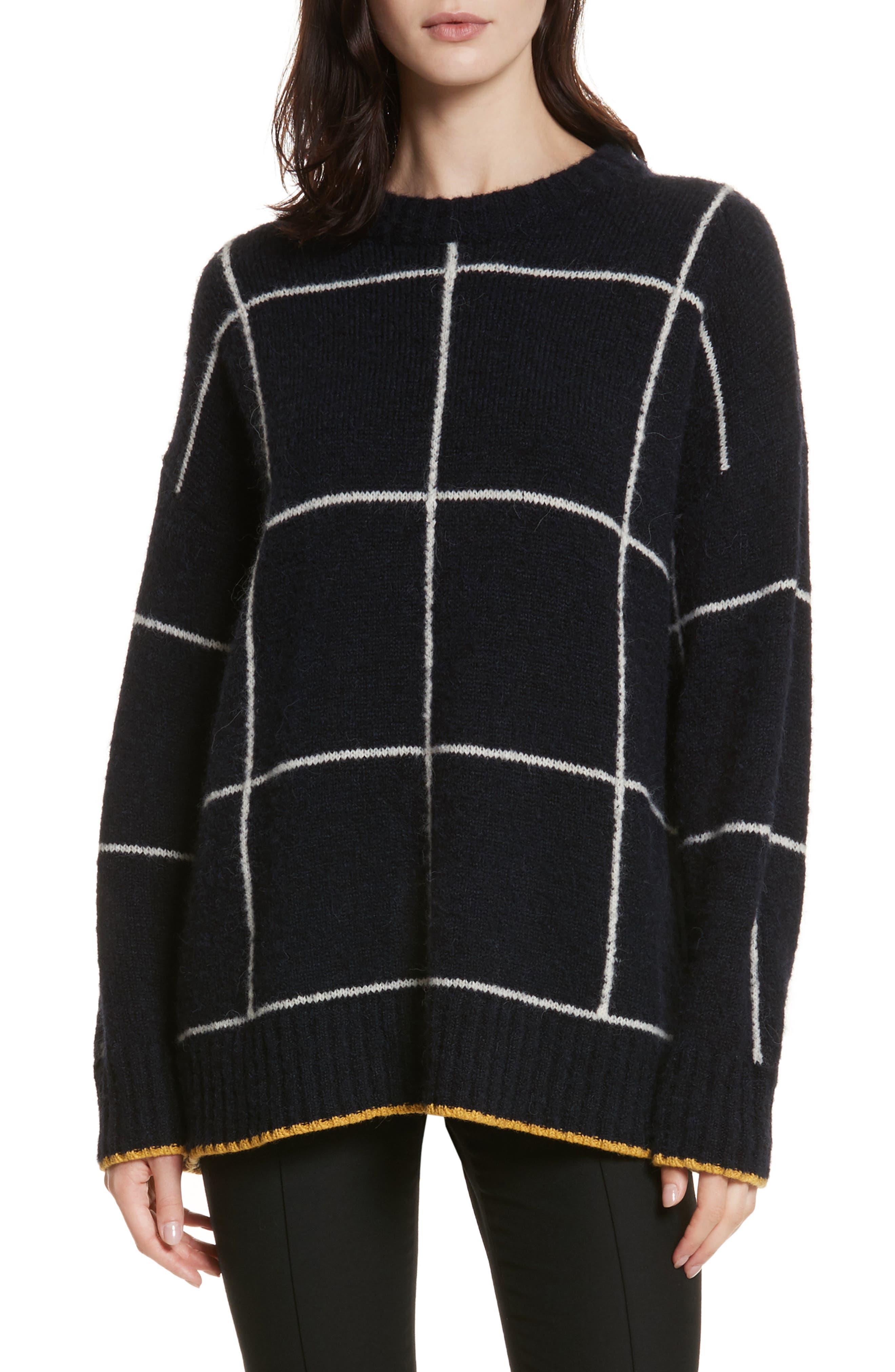 Fionn Windowpane Oversized Sweater,                             Main thumbnail 1, color,                             Navy/ Alabaster/ Pollen