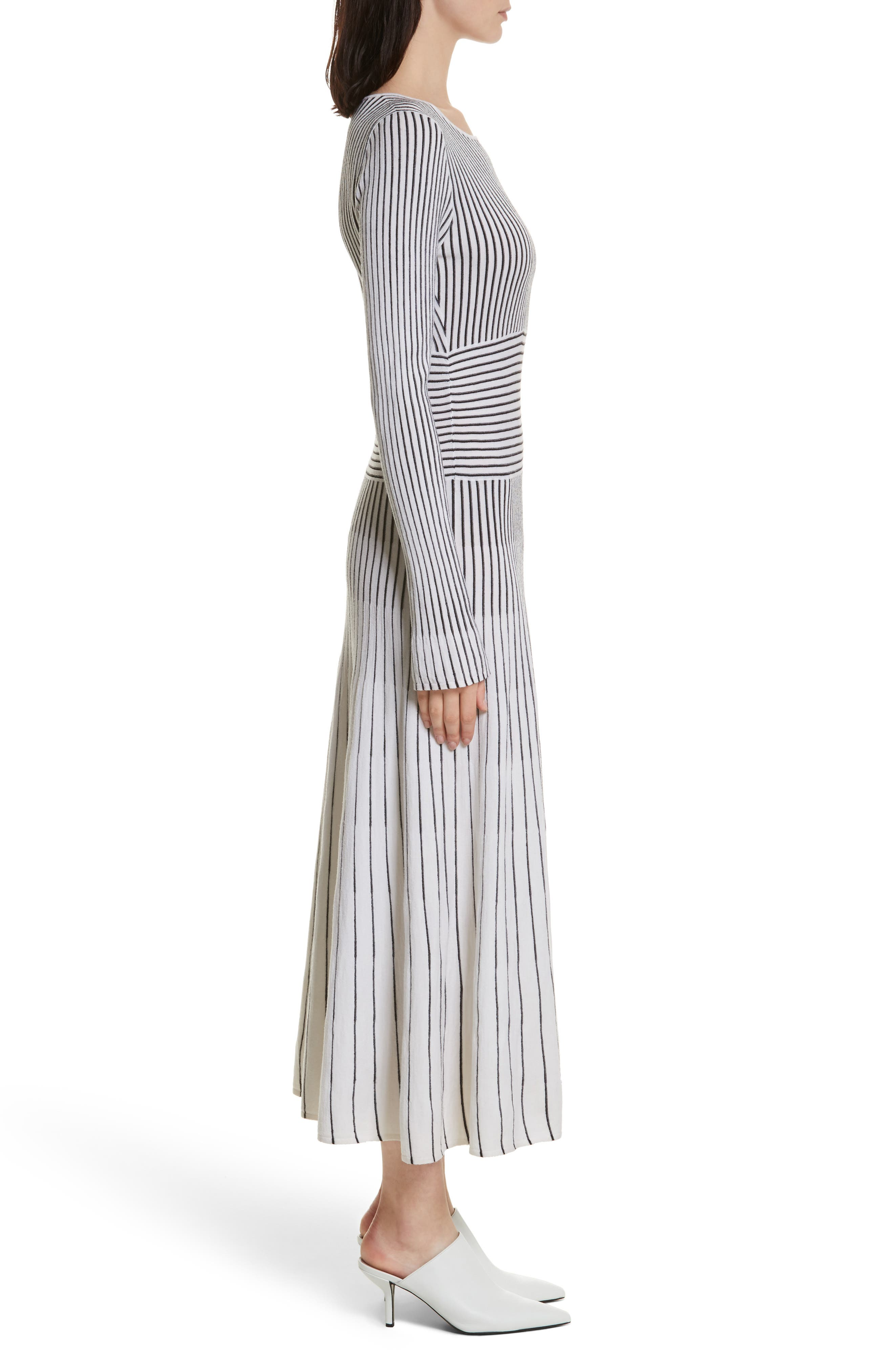 Sheridan Stripe Knit Midi Dress,                             Alternate thumbnail 3, color,                             Ivory/ Black