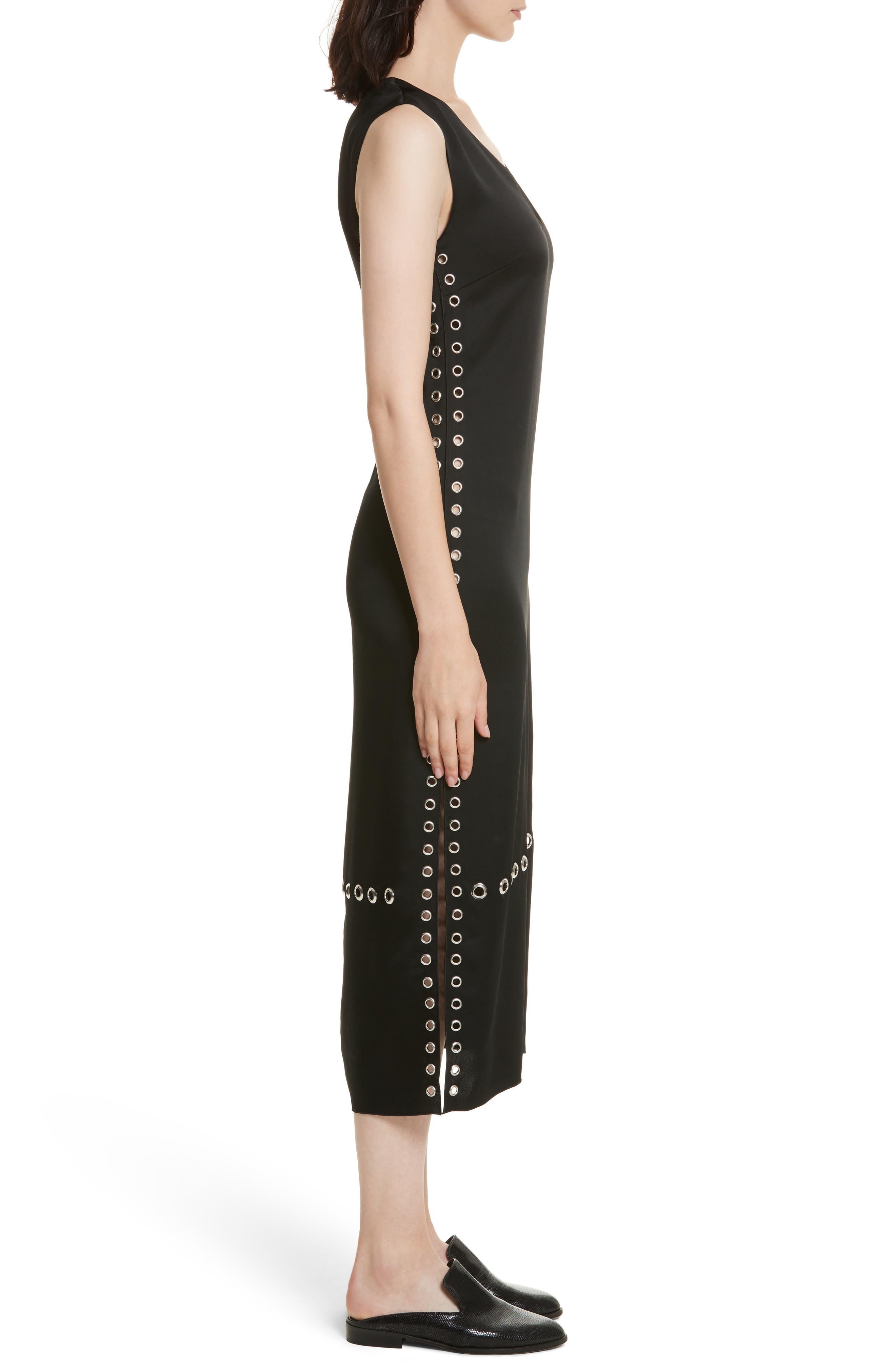 Leigh Grommet Midi Dress,                             Alternate thumbnail 3, color,                             Black