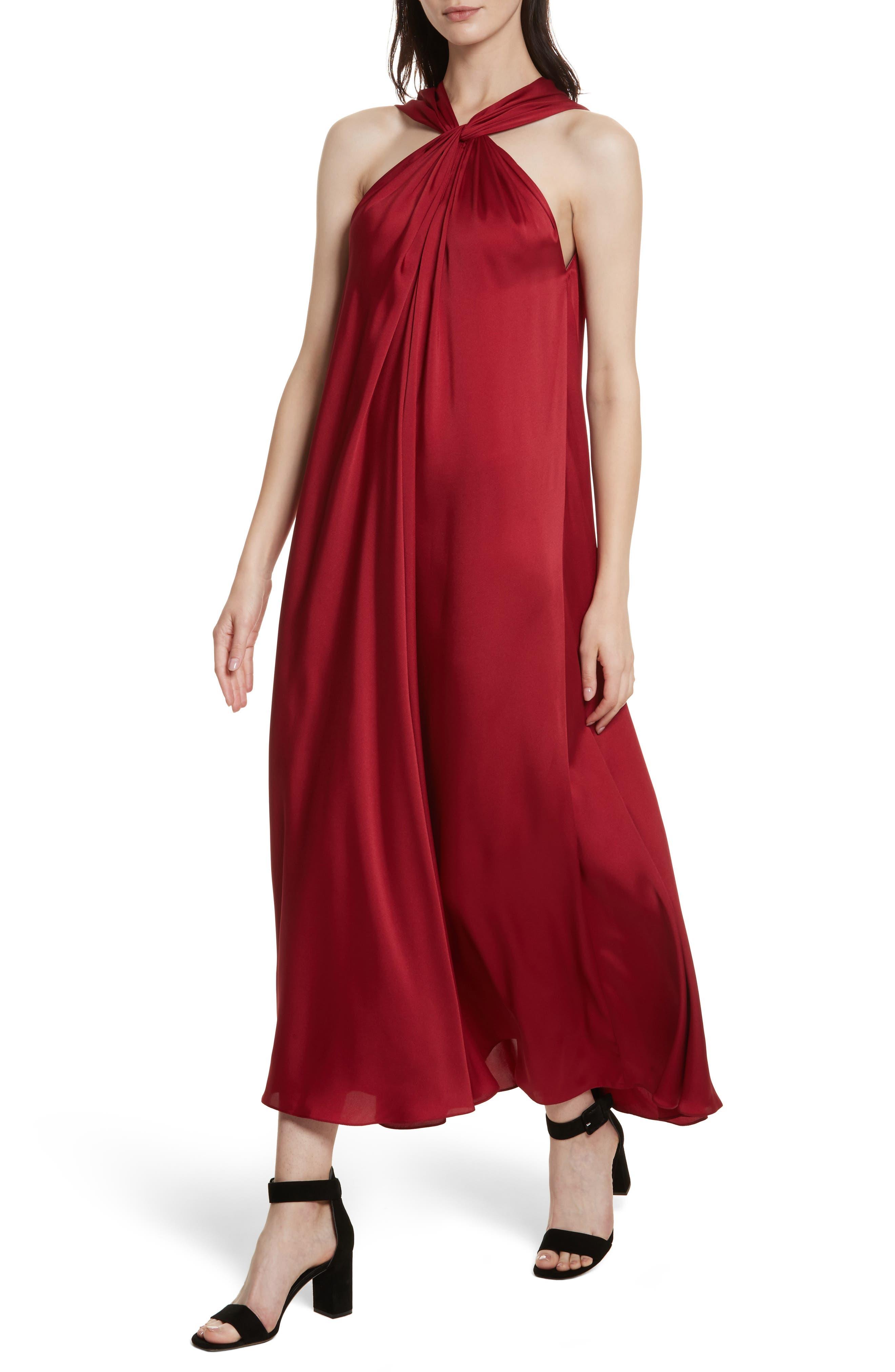 Cavan Twist Neck Satin Dress,                             Alternate thumbnail 4, color,                             Ruby