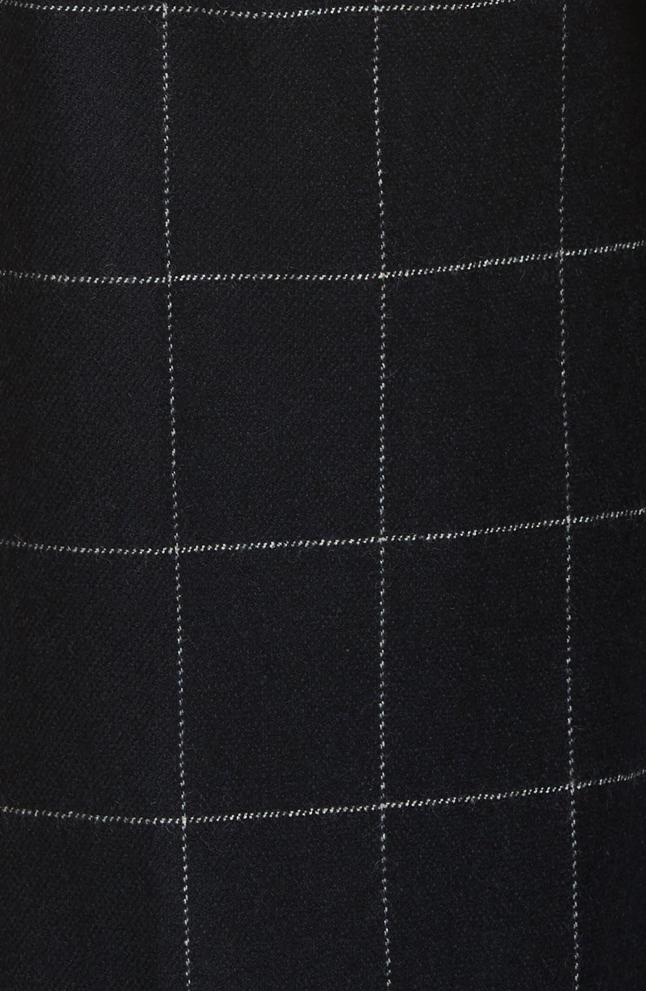 Windowpane Wool Blend Wide Leg Pants,                             Alternate thumbnail 5, color,                             Navy