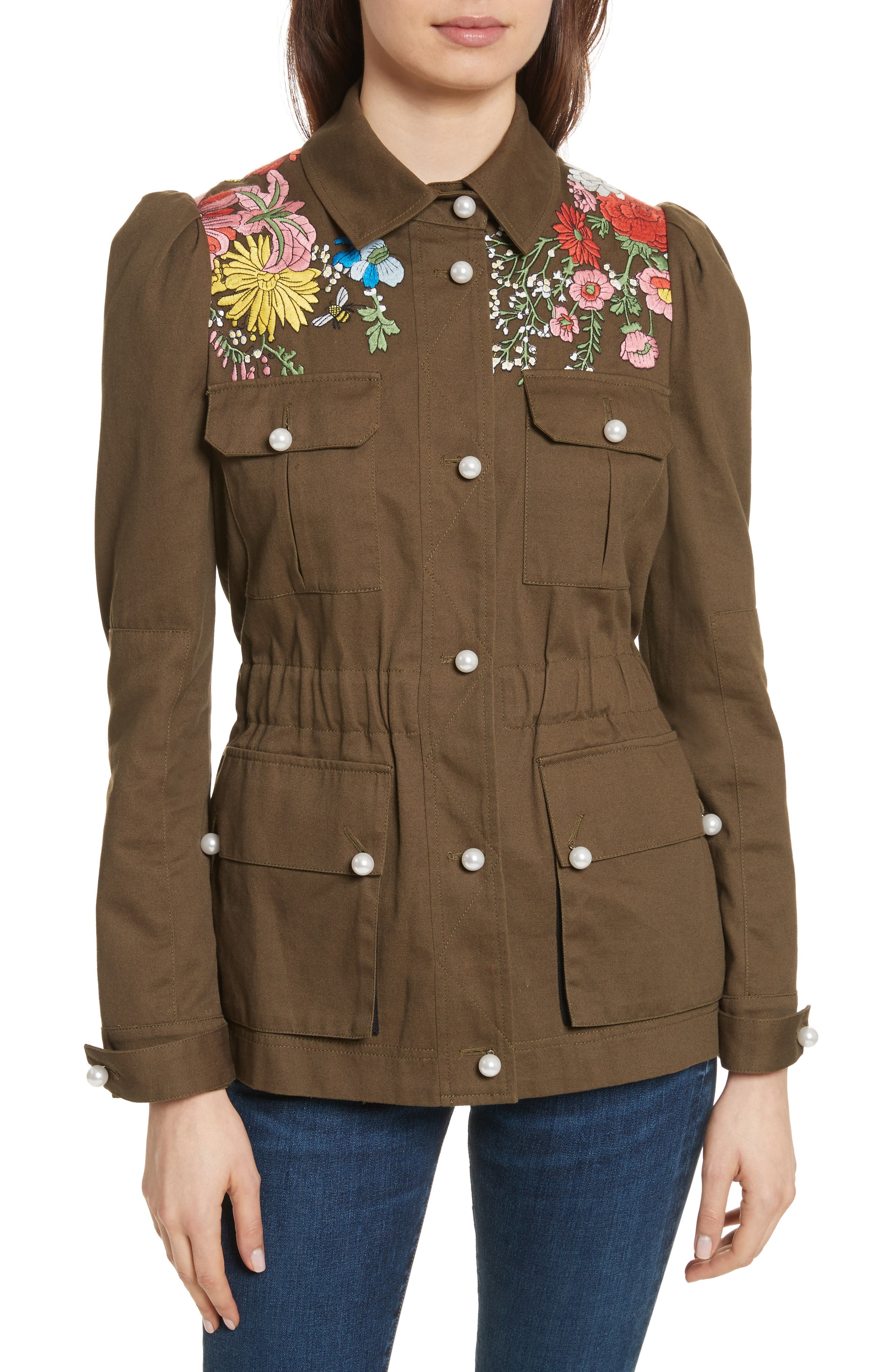 Huxley Floral Embroidered Safari Jacket,                         Main,                         color, Army