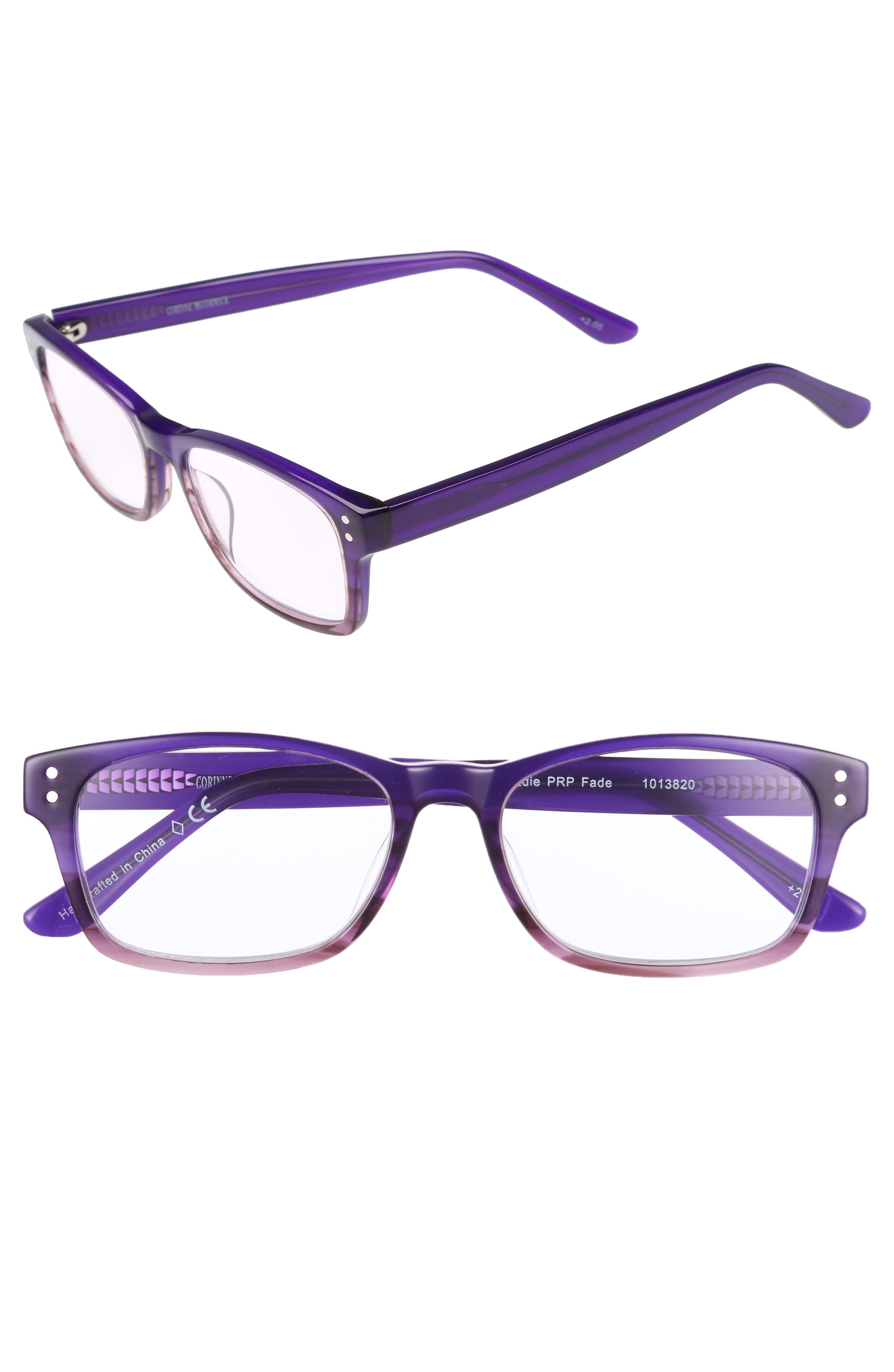 Edie 50mm Reading Glasses,                             Main thumbnail 1, color,                             Purple