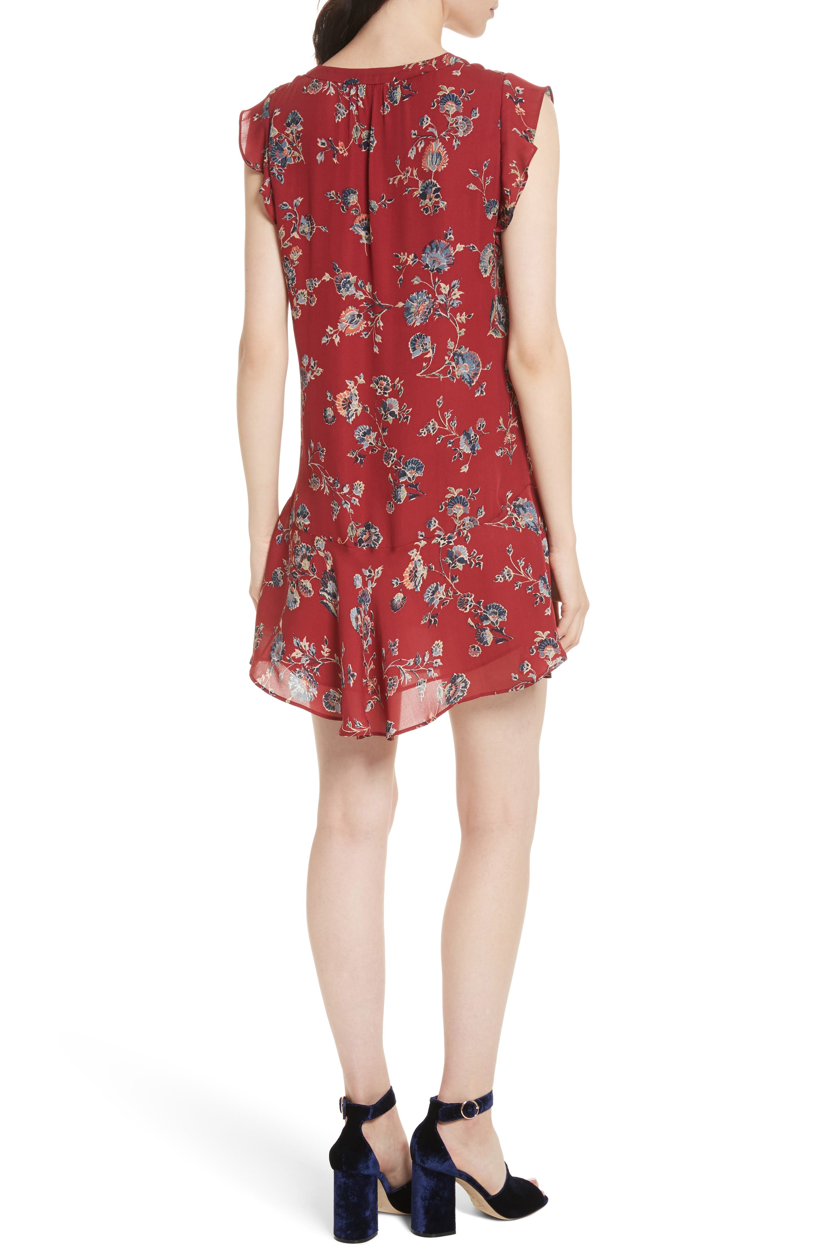 Almarie Floral Silk Mindress,                             Alternate thumbnail 3, color,                             Tandoori Red