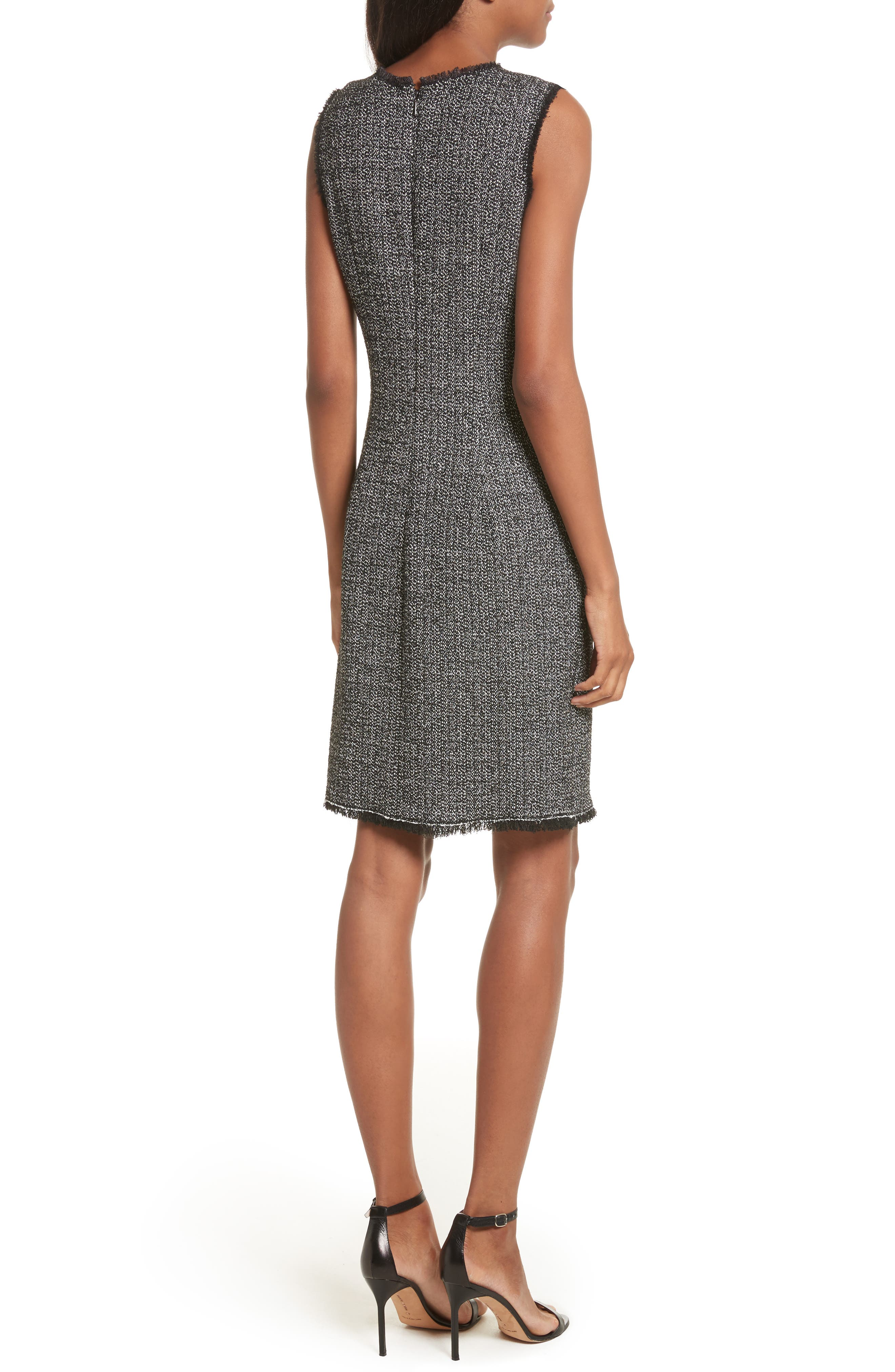 Tweed Sheath Dress,                             Alternate thumbnail 2, color,                             Black Combo