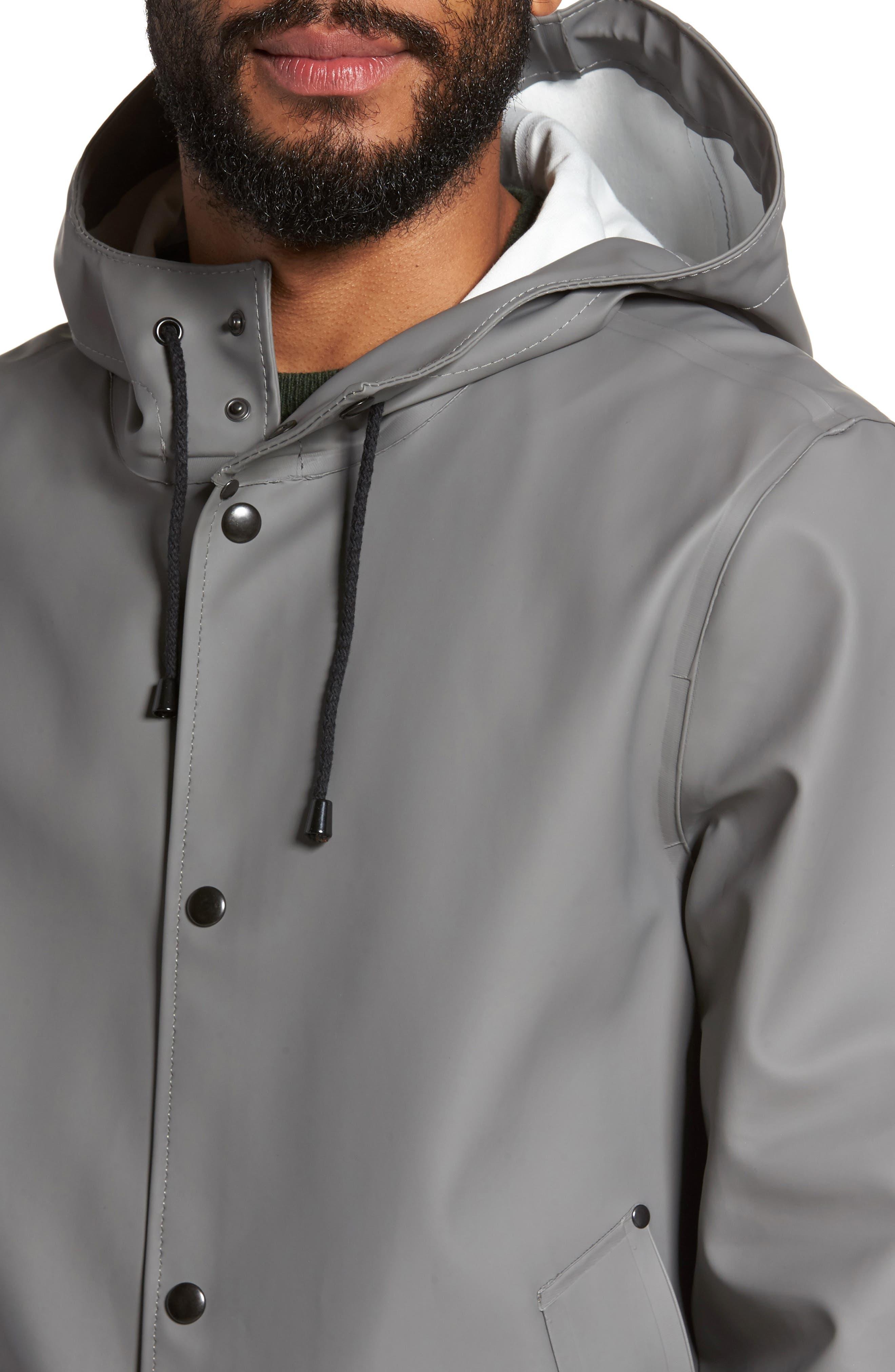 Stockholm Colorblock Waterproof Hooded Raincoat,                             Alternate thumbnail 4, color,                             Grey/ Green