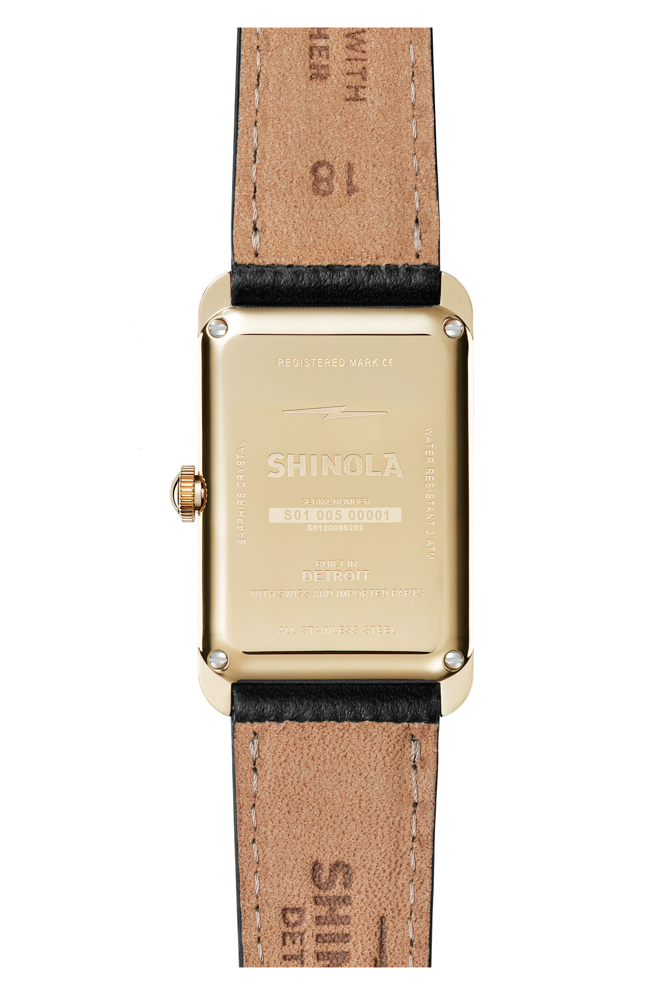 Alternate Image 2  - Shinola The Muldowney Rectangular Leather Strap Watch, 24mm x 35mm