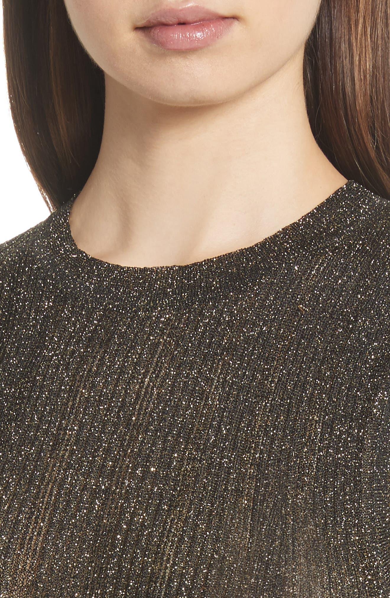 Alternate Image 5  - Nili Lotan Lace Metallic Knit Top