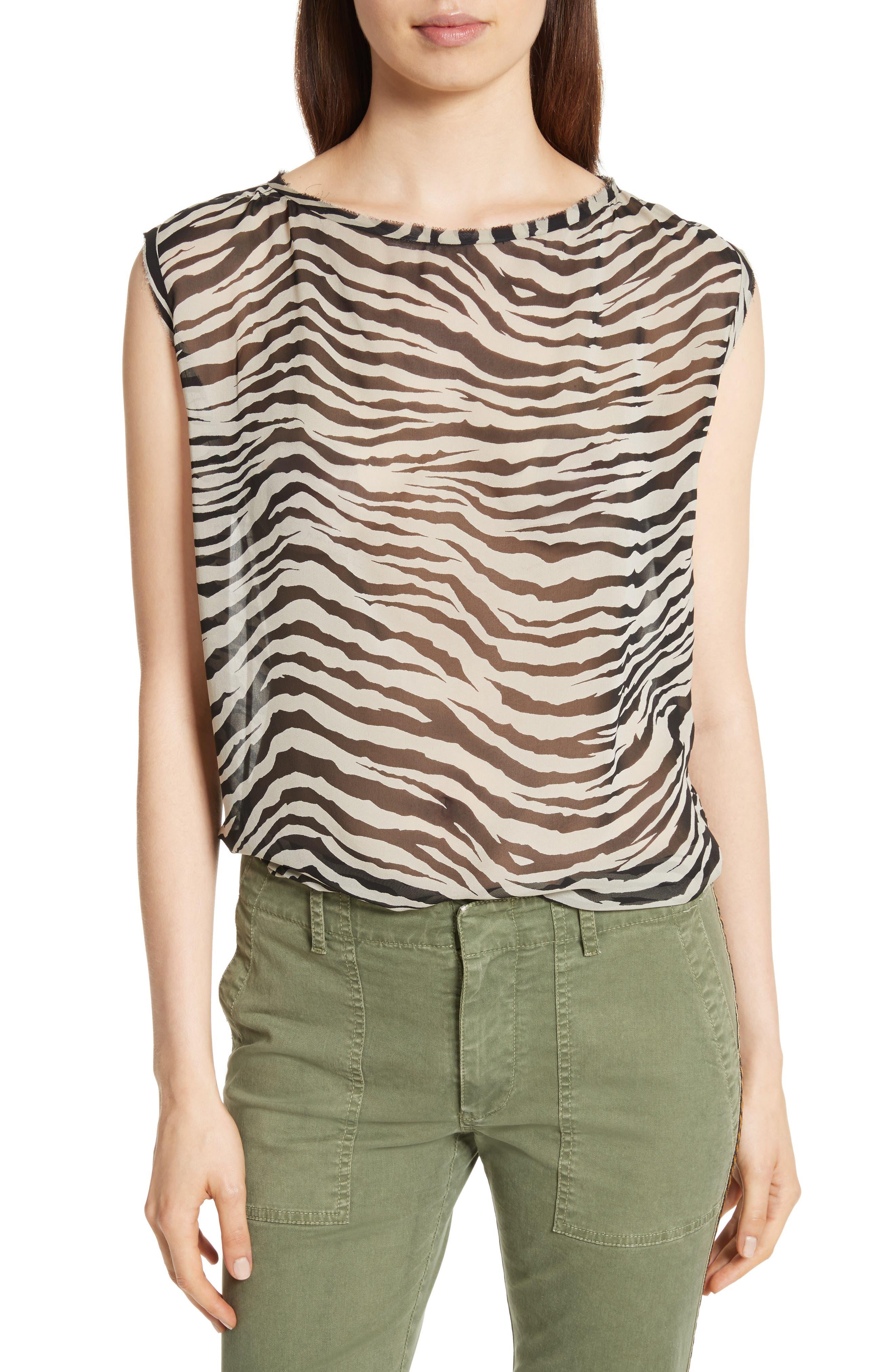 Sadie Print Silk Top,                         Main,                         color, Bengal Tiger
