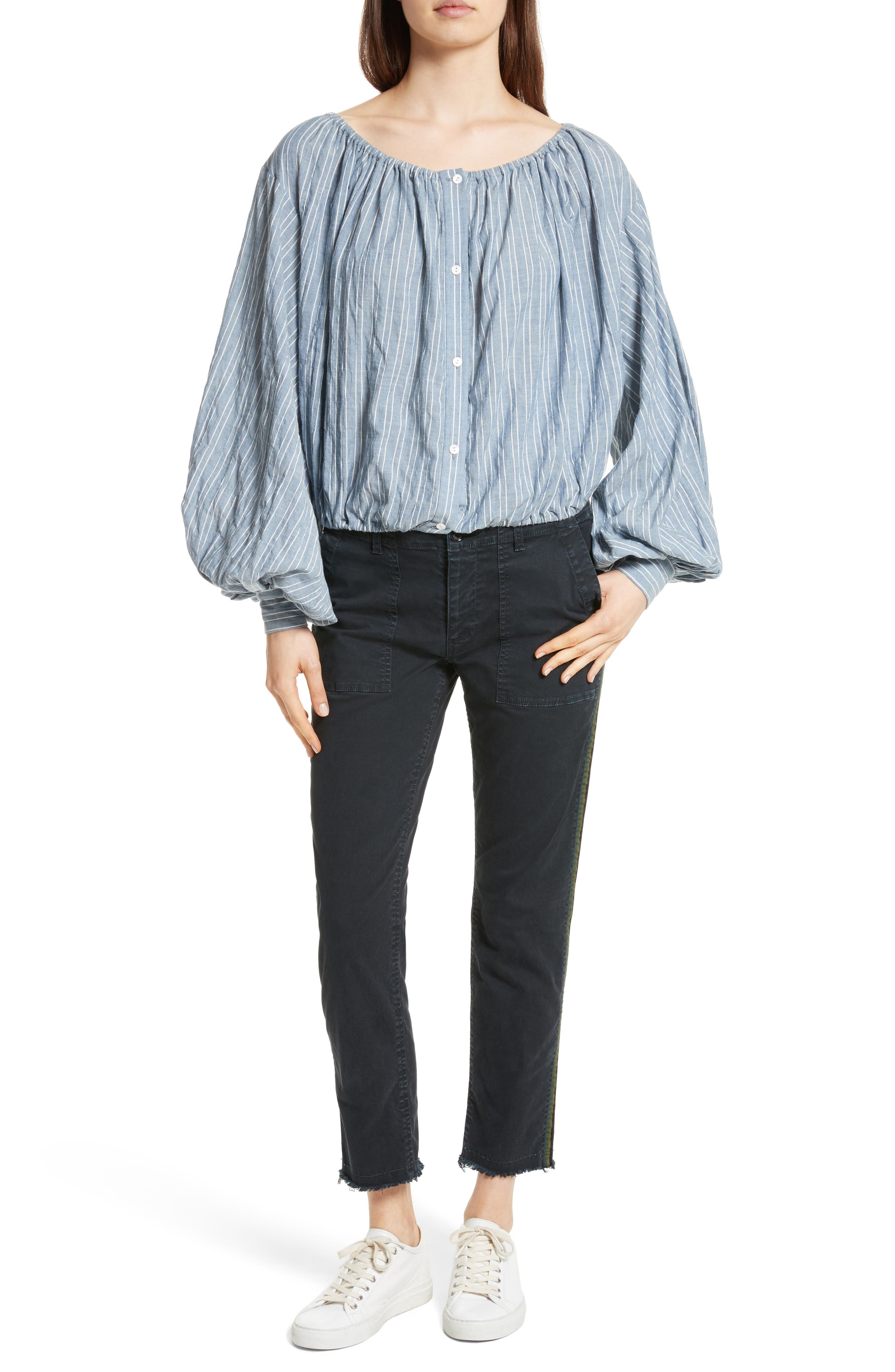 Roxie Chambray Puff Sleeve Blouse,                             Alternate thumbnail 2, color,                             Navy