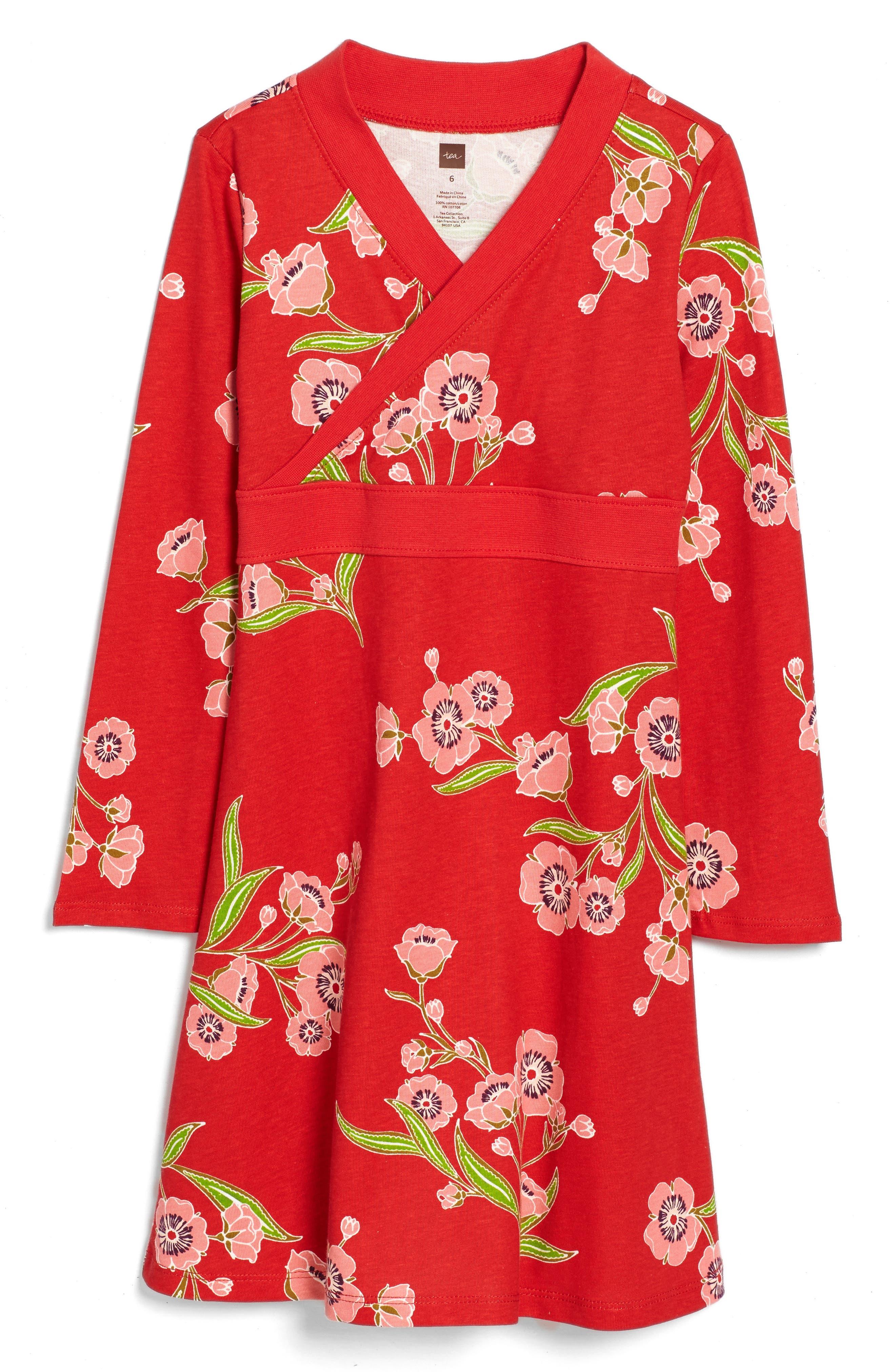 Tea Collection Rowan Print Wrap Neck Dress (Toddler Girls, Little Girls & Big Girls)
