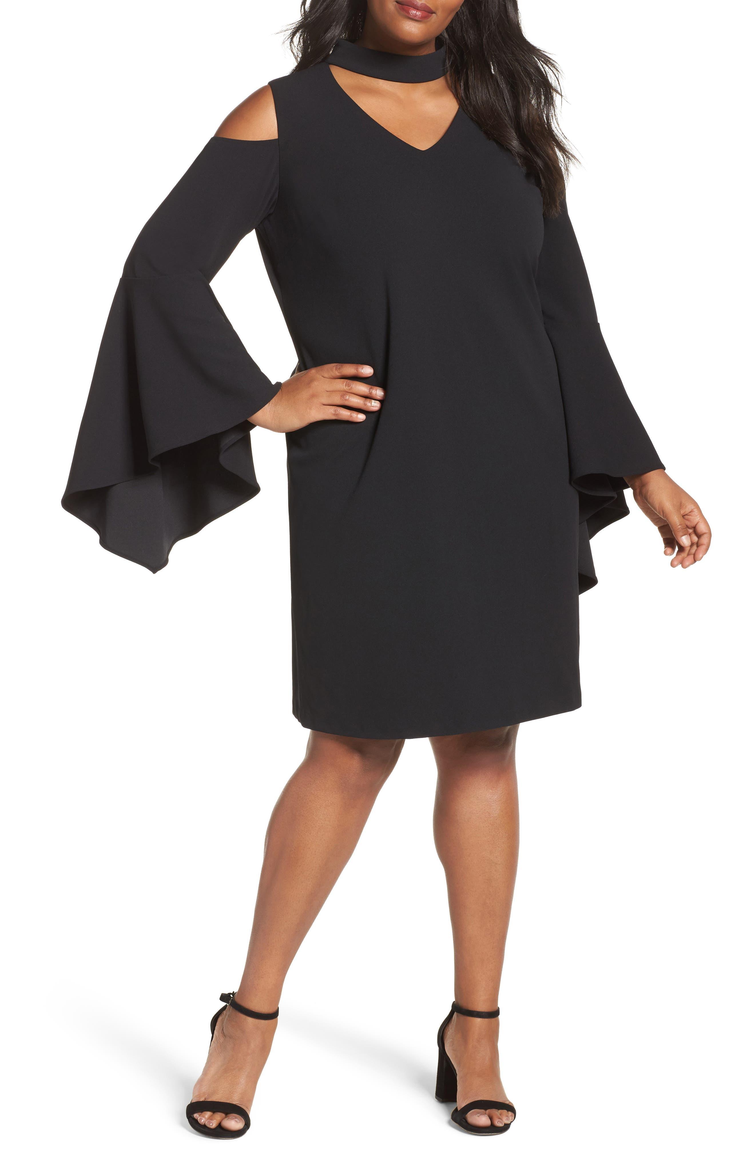 Cold Shoulder Bell Sleeve Dress,                         Main,                         color, Rich Black