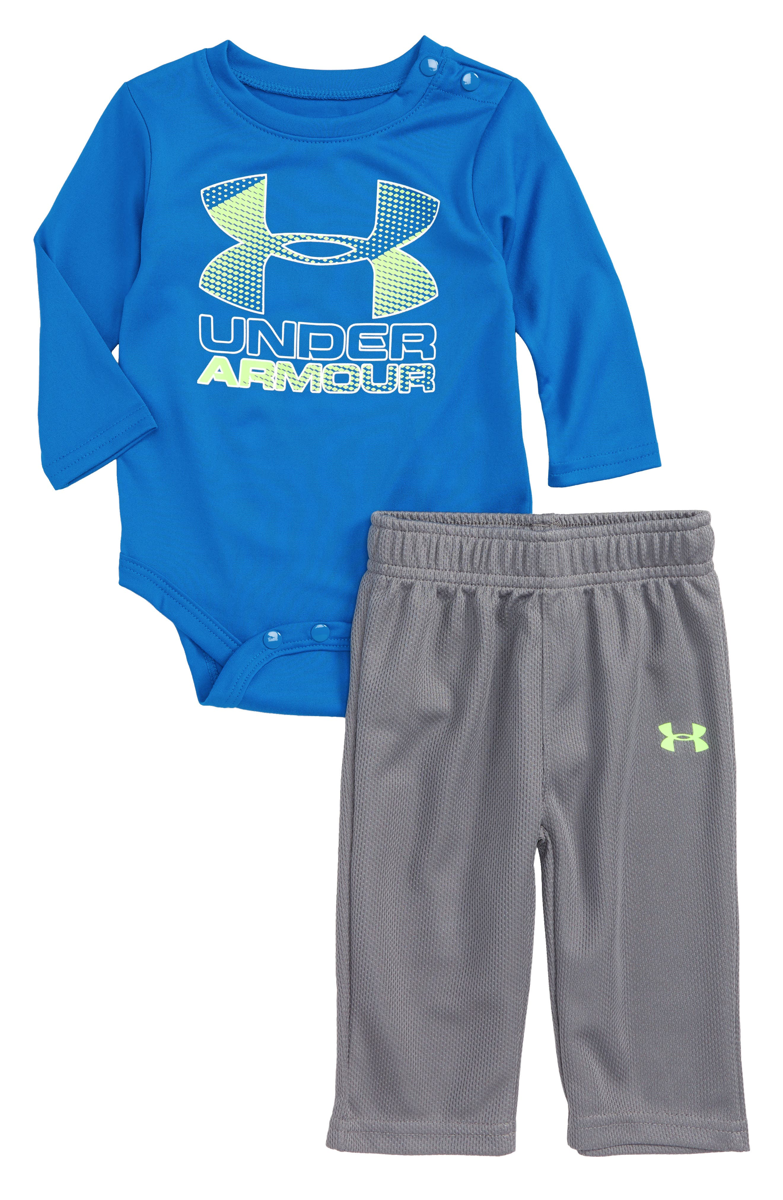 Alternate Image 1 Selected - Under Armour Hybrid Logo Graphic Bodysuit & Pants Set (Baby Boys)