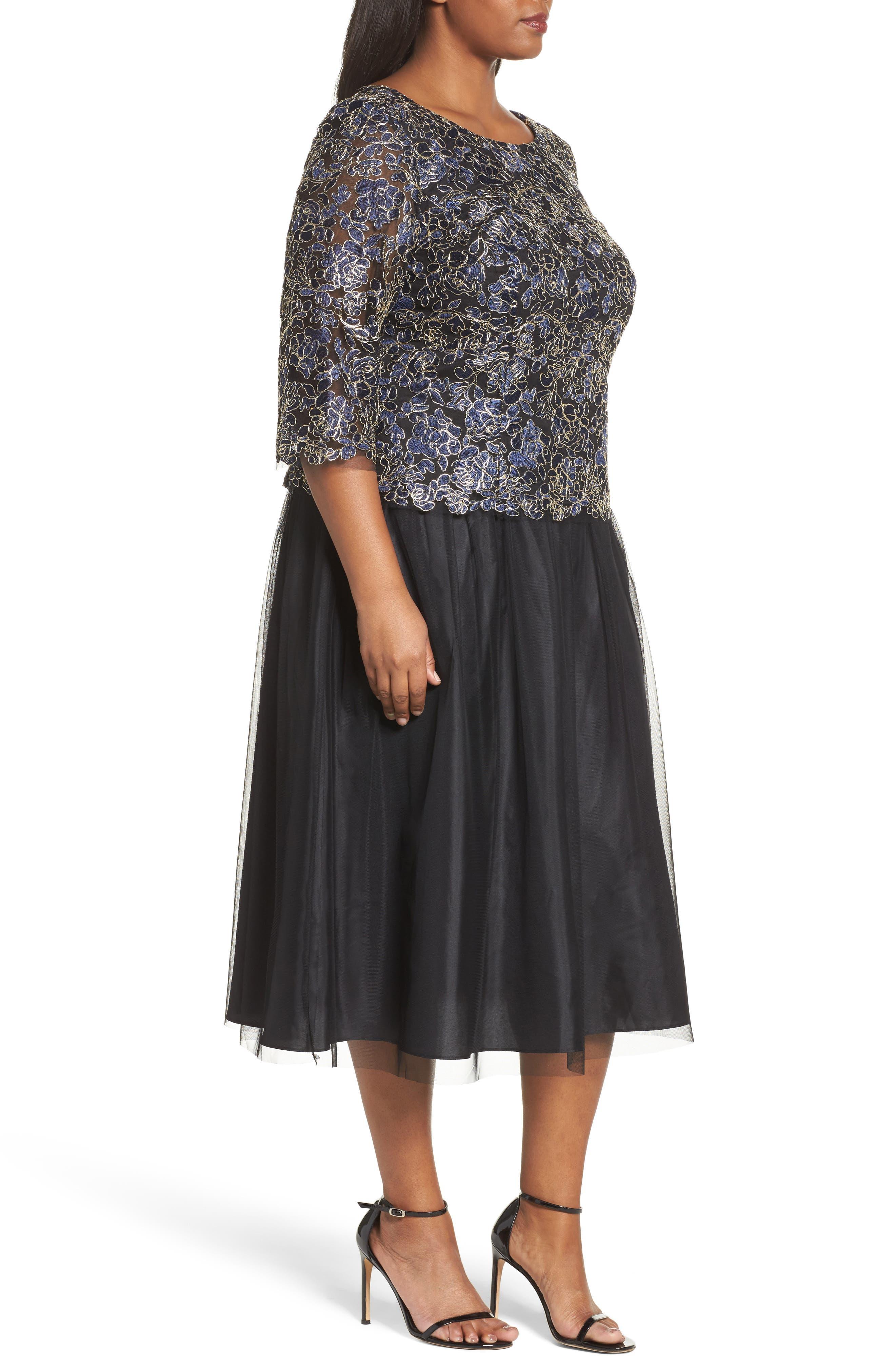 Alternate Image 3  - Alex Evenings Tea Length Lace & Tulle Dress (Plus Size)