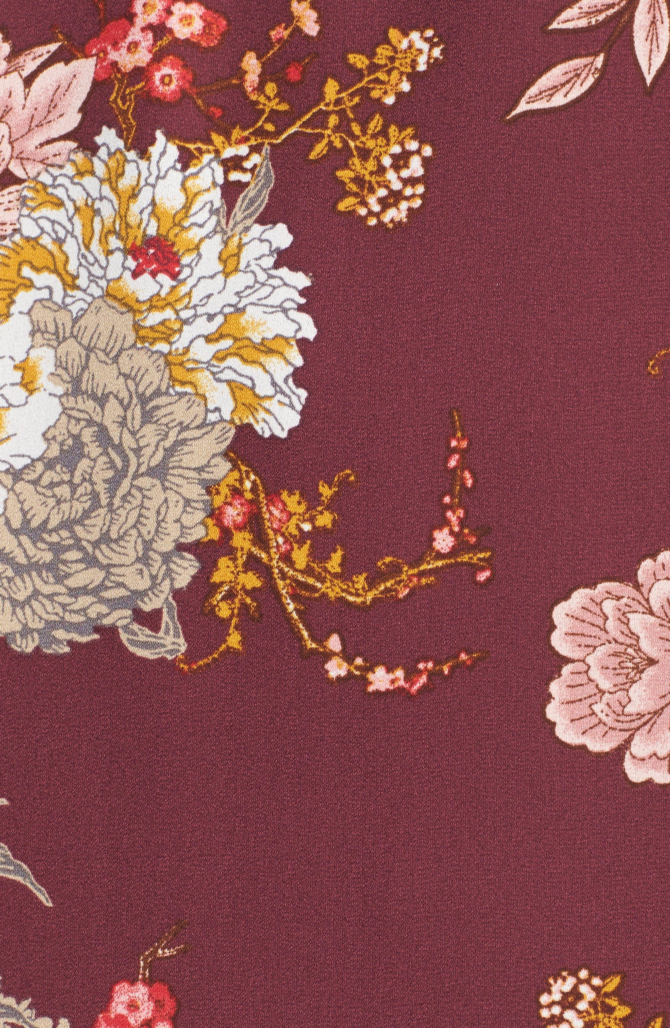 Jade Off the Shoulder Dress,                             Alternate thumbnail 5, color,                             Wine Floral