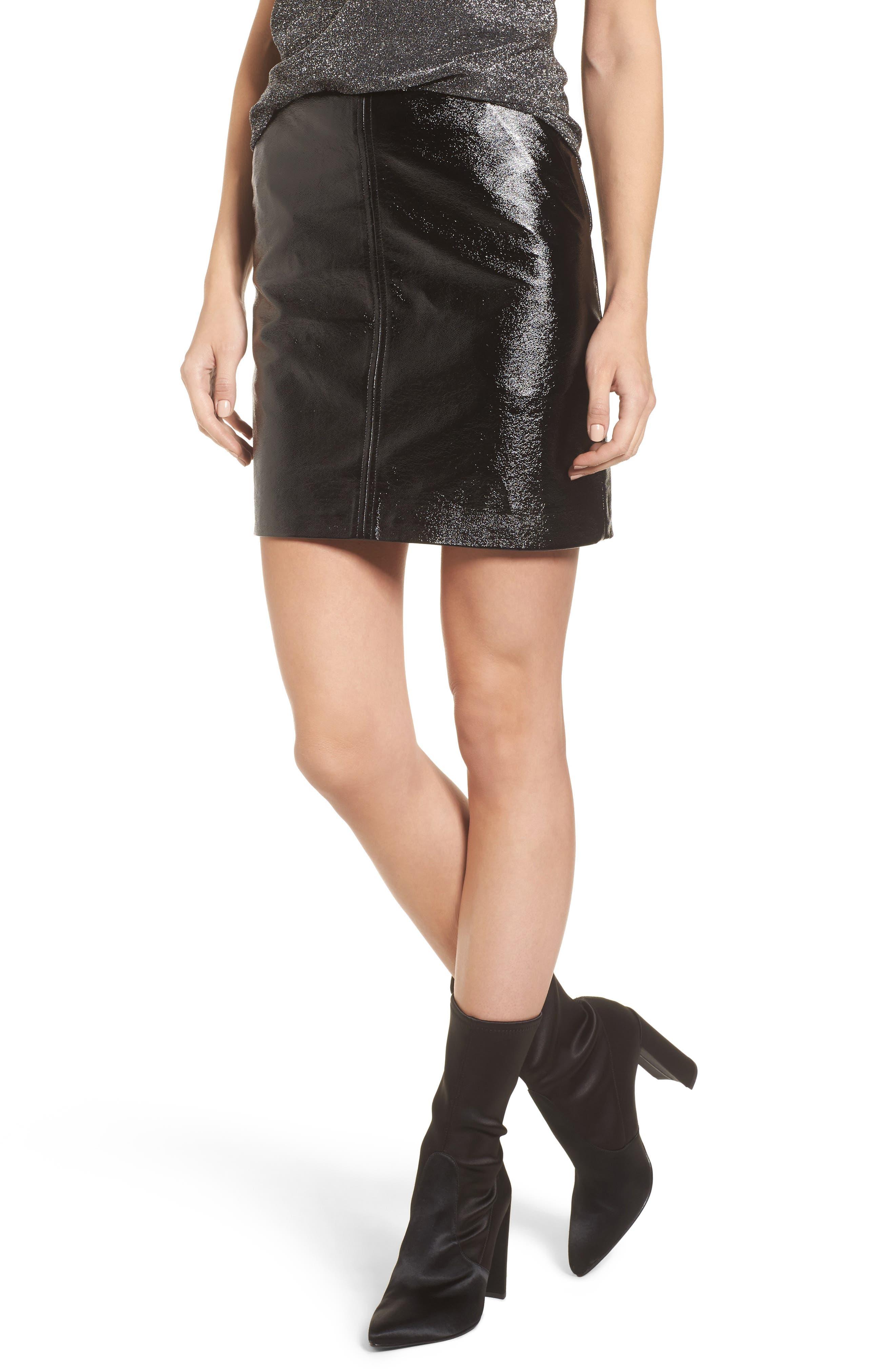 Faux Leather Skirt,                         Main,                         color, Black