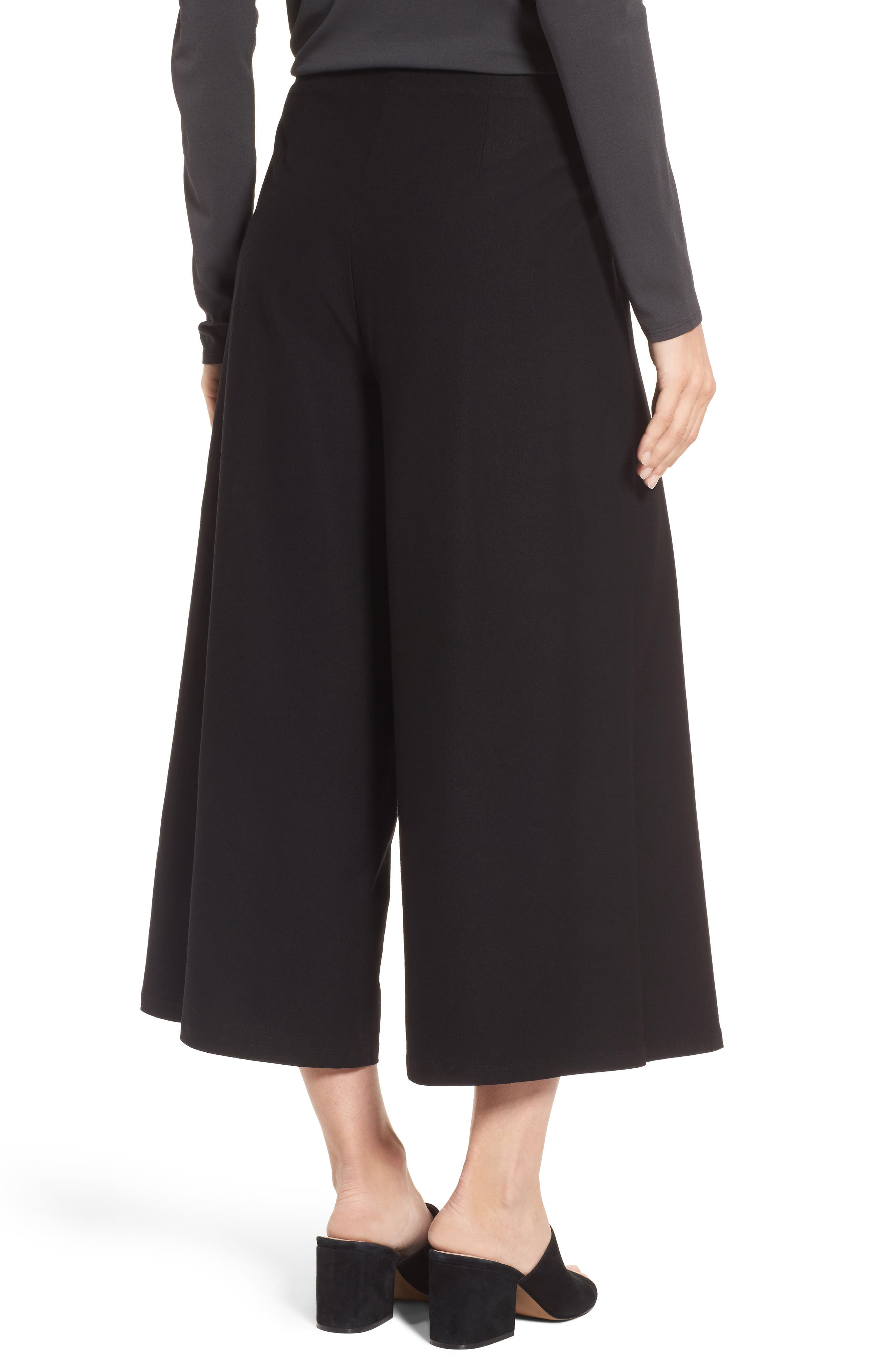 Crop Stretch Knit Pants,                             Alternate thumbnail 2, color,                             Black