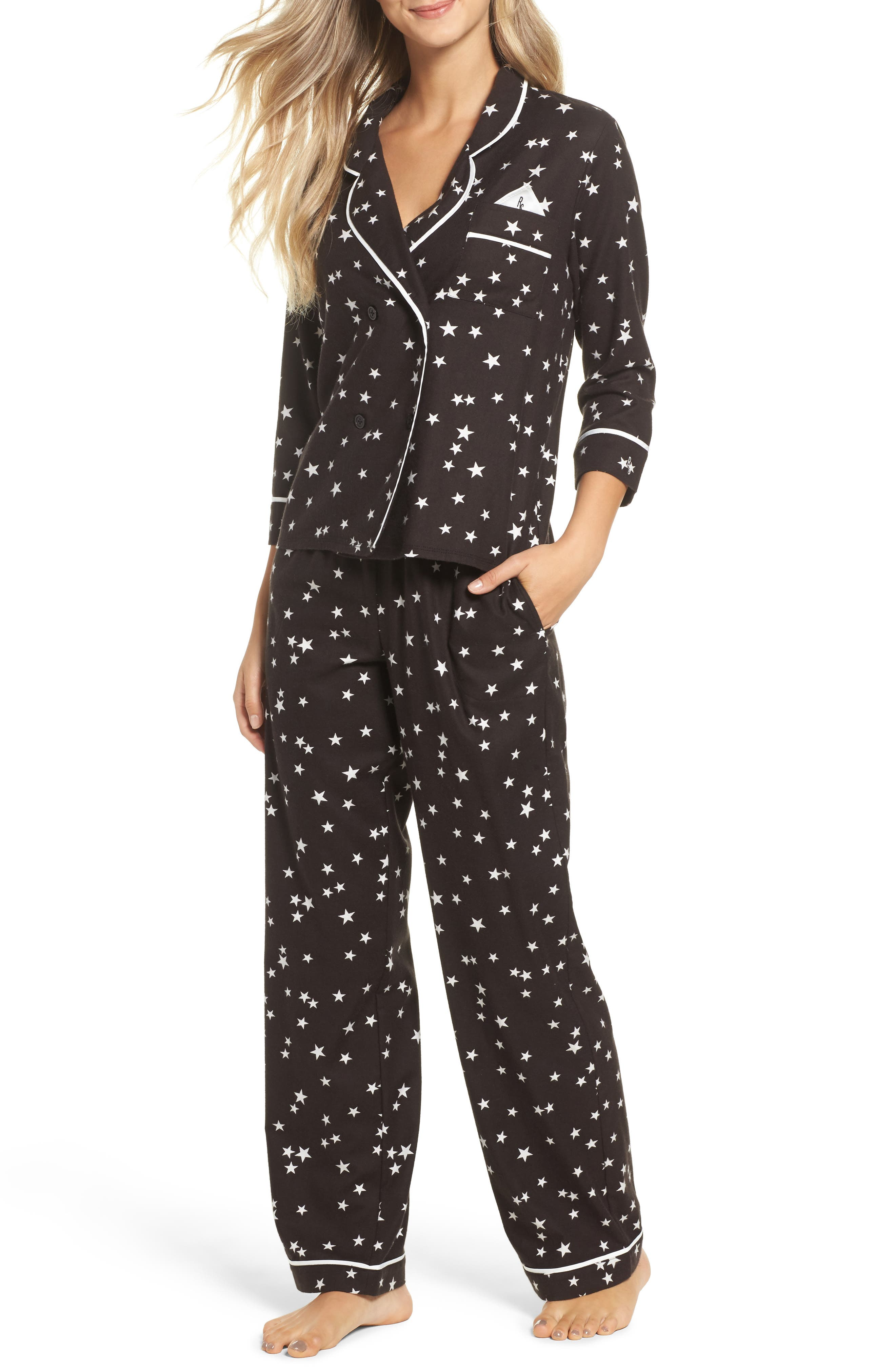 Flannel Pajamas,                             Main thumbnail 1, color,                             Black