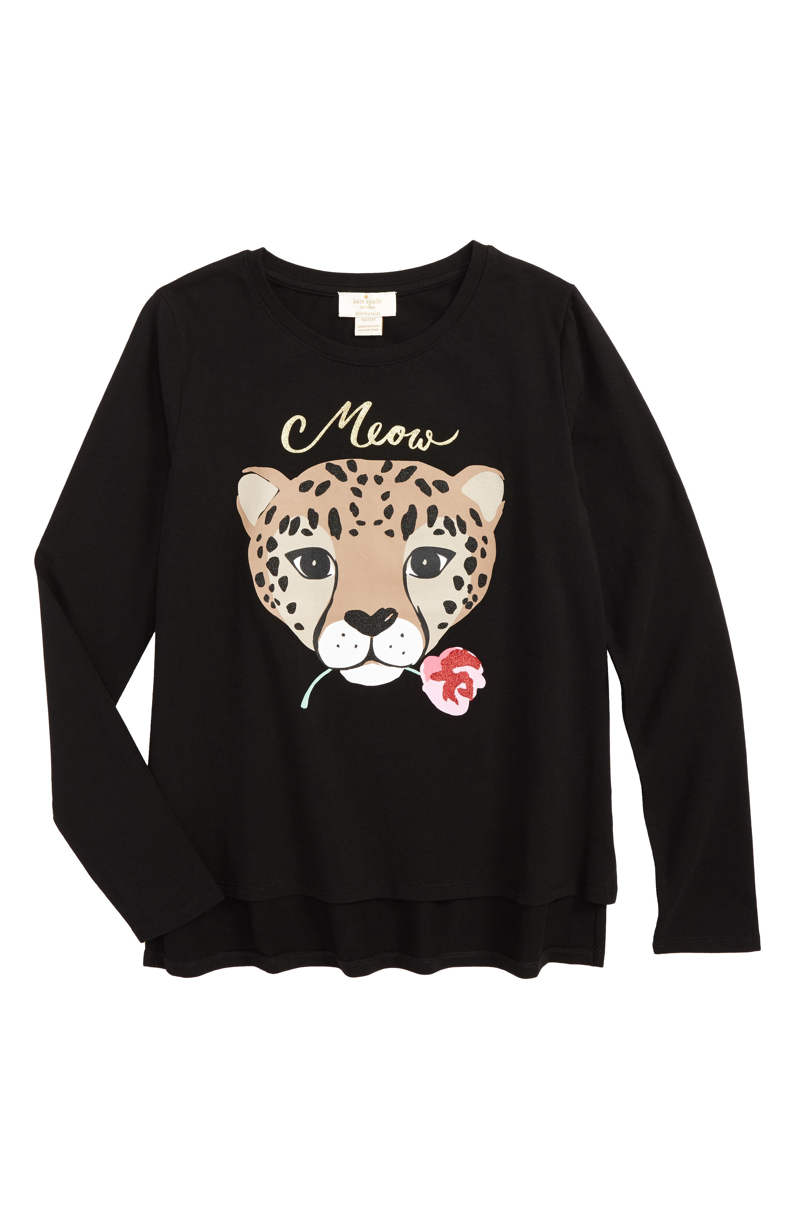Alternate Image 1 Selected - kate spade new york meow tee (Big Girls)