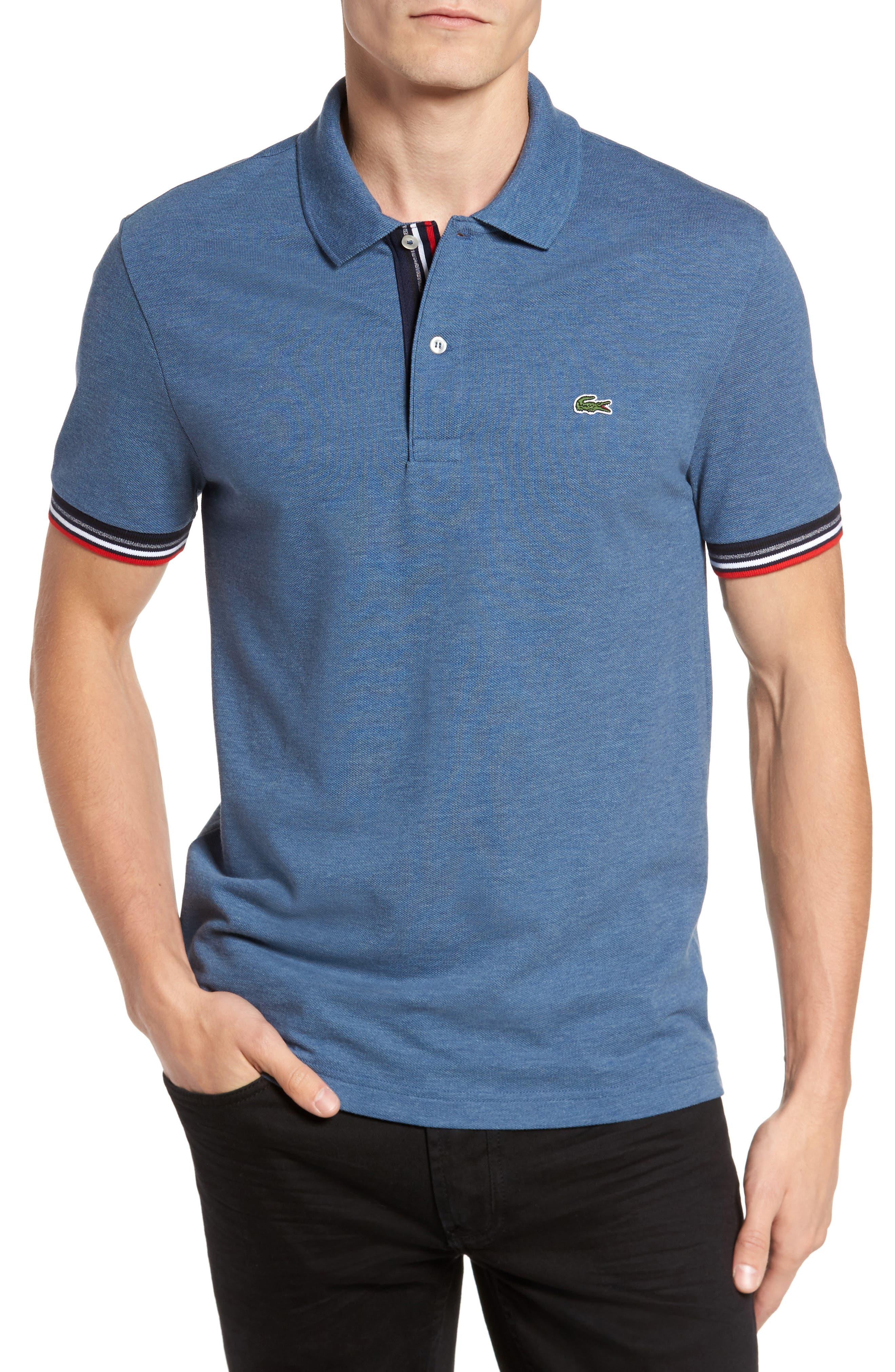 Slim Fit Piqué Polo,                         Main,                         color, Denim Blue Jeans