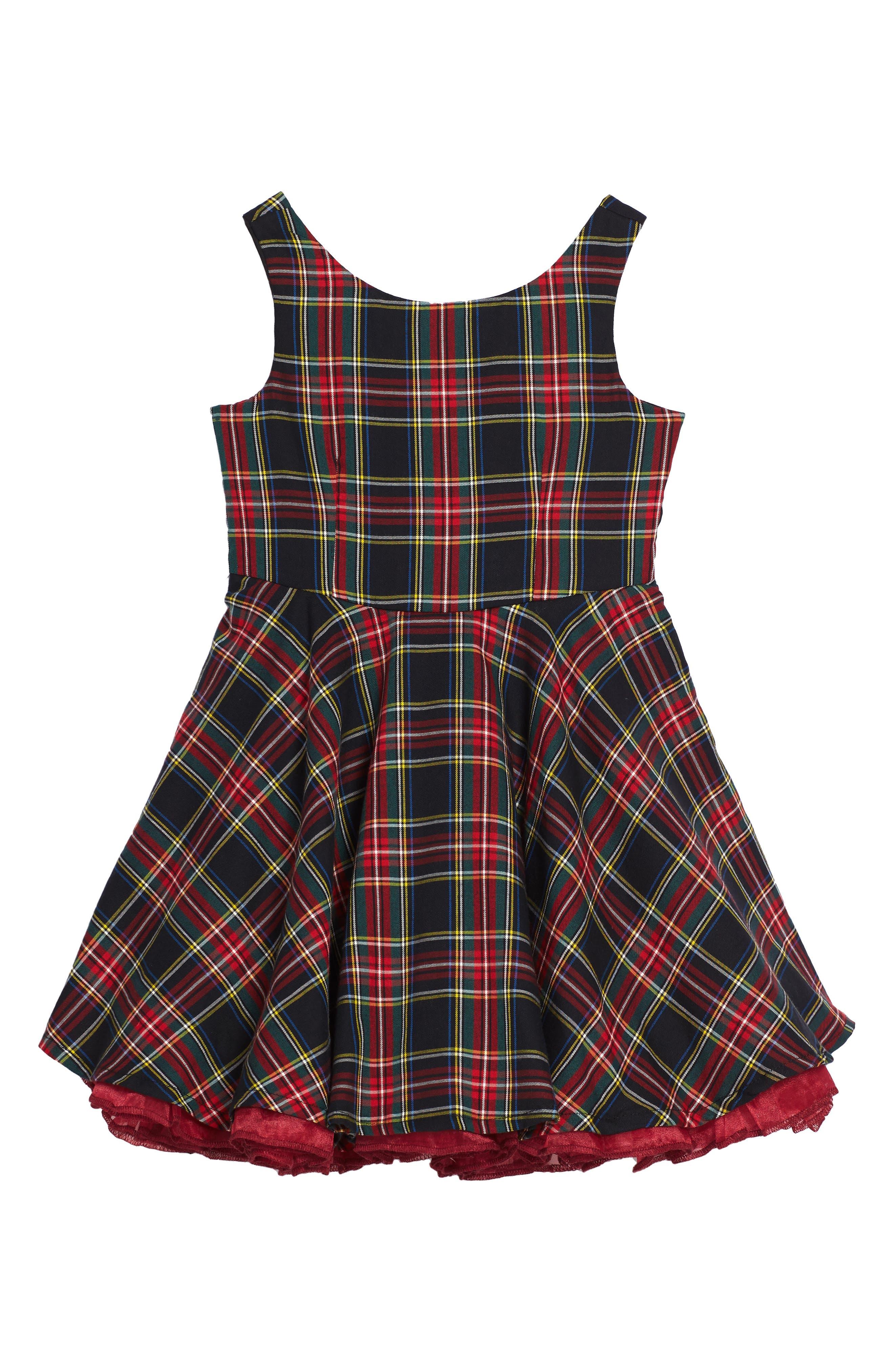 Main Image - Fiveloaves Twofish Tartan Party Dress (Toddler Girls & Little Girls)