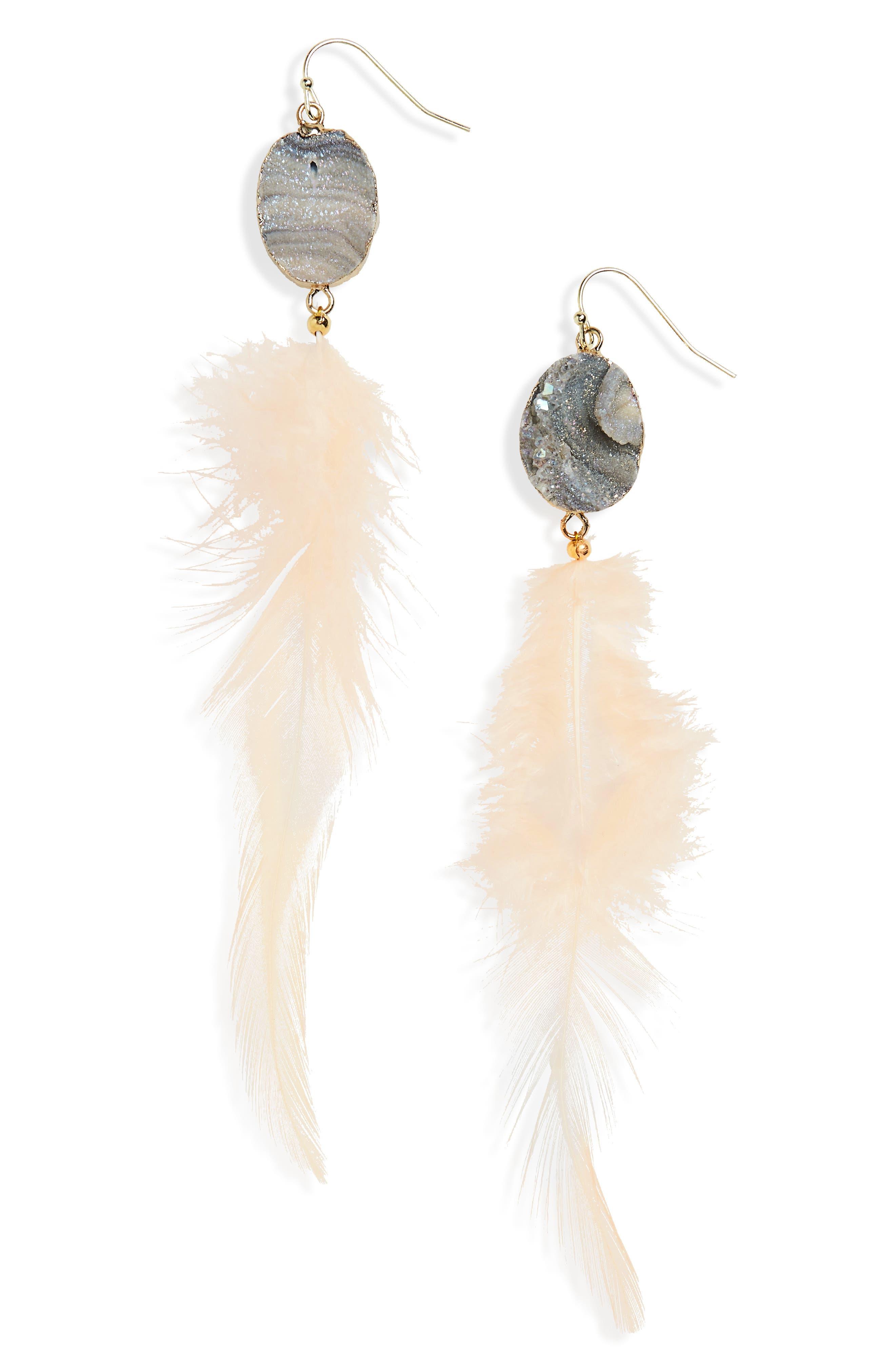 Sunstone Feather Earrings,                             Main thumbnail 1, color,                             White