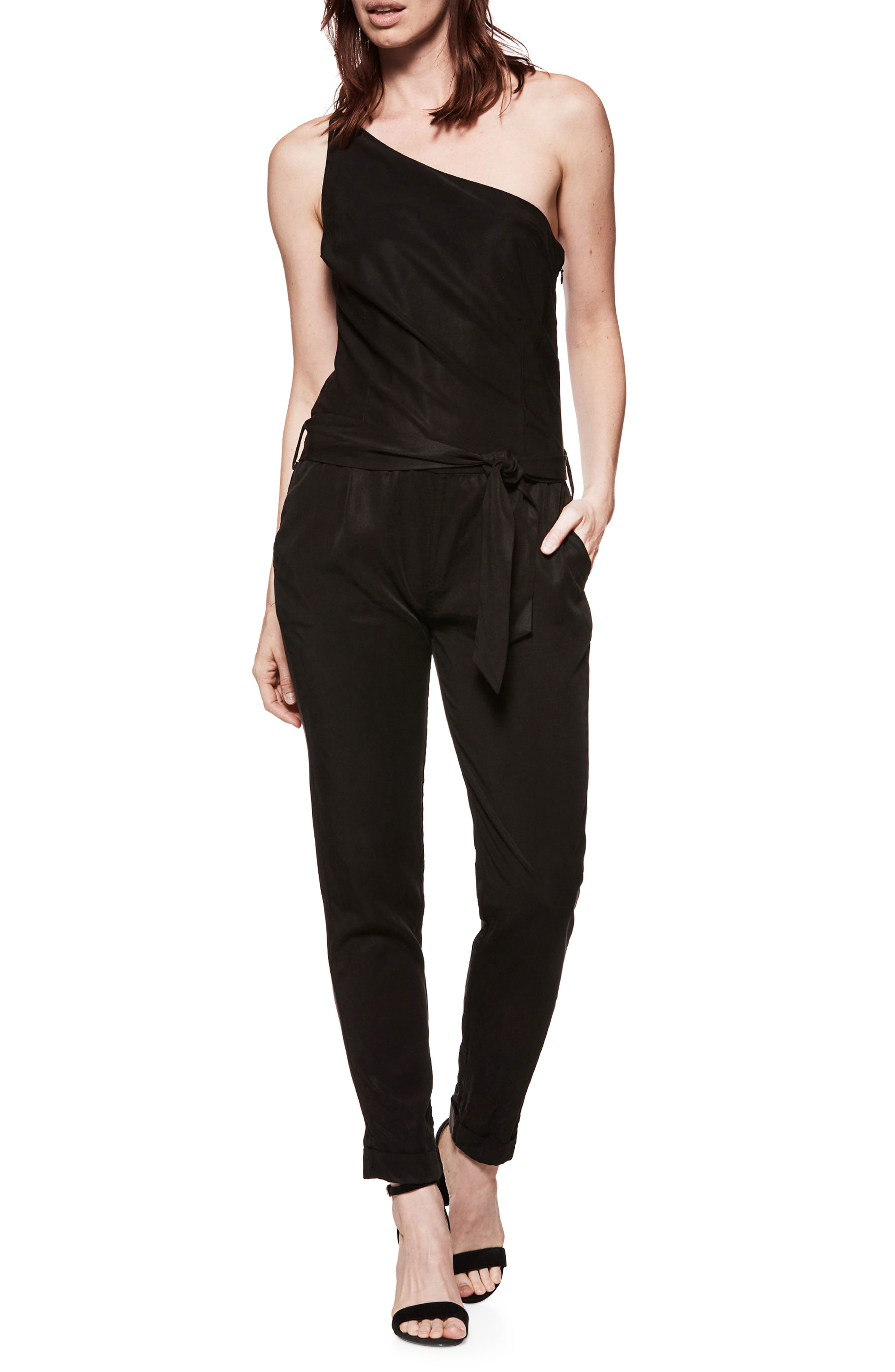 Maise One-Shoulder Jumpsuit,                             Main thumbnail 1, color,                             Black