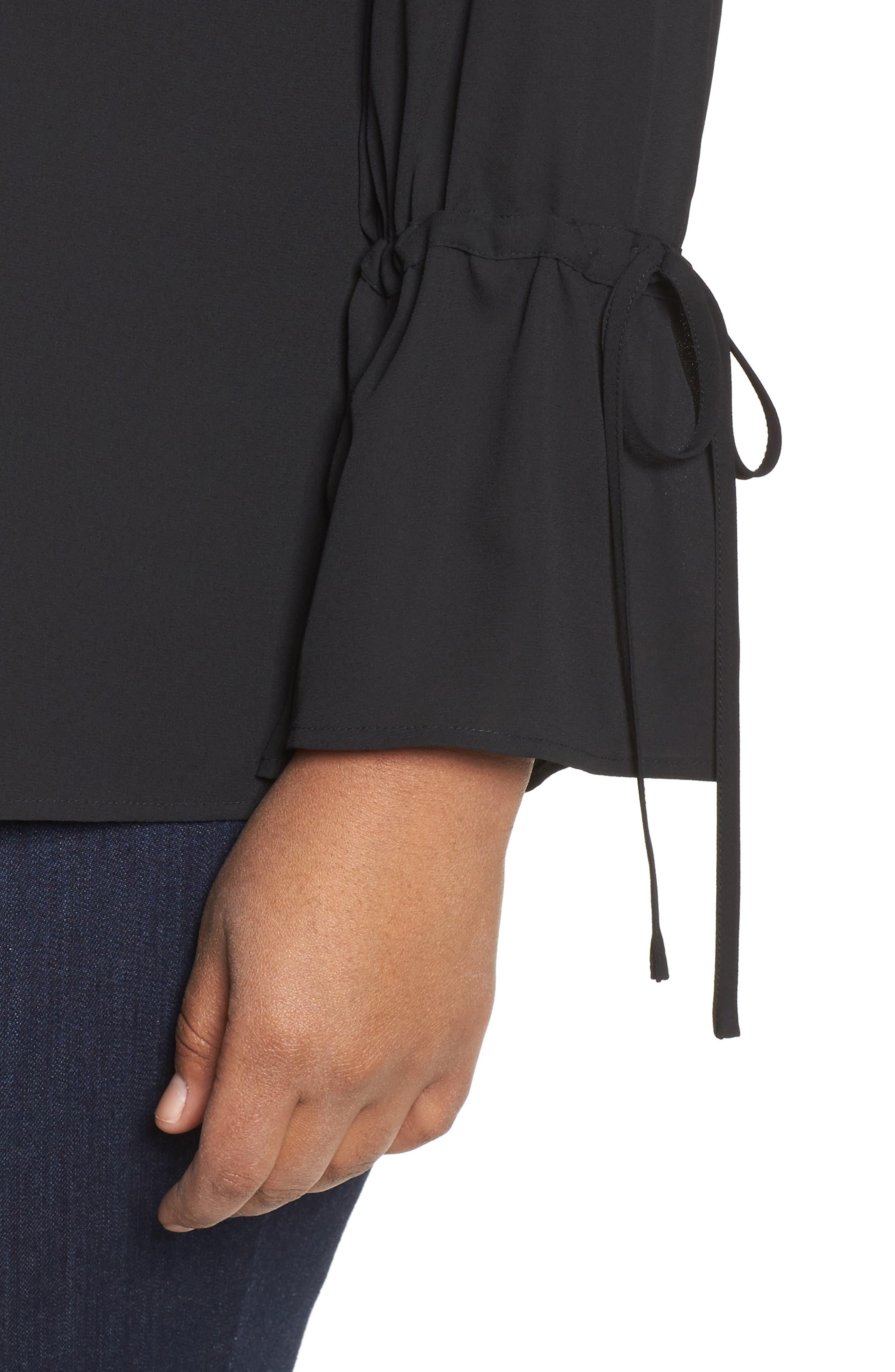 Tie Sleeve Blouse,                             Alternate thumbnail 4, color,                             Black